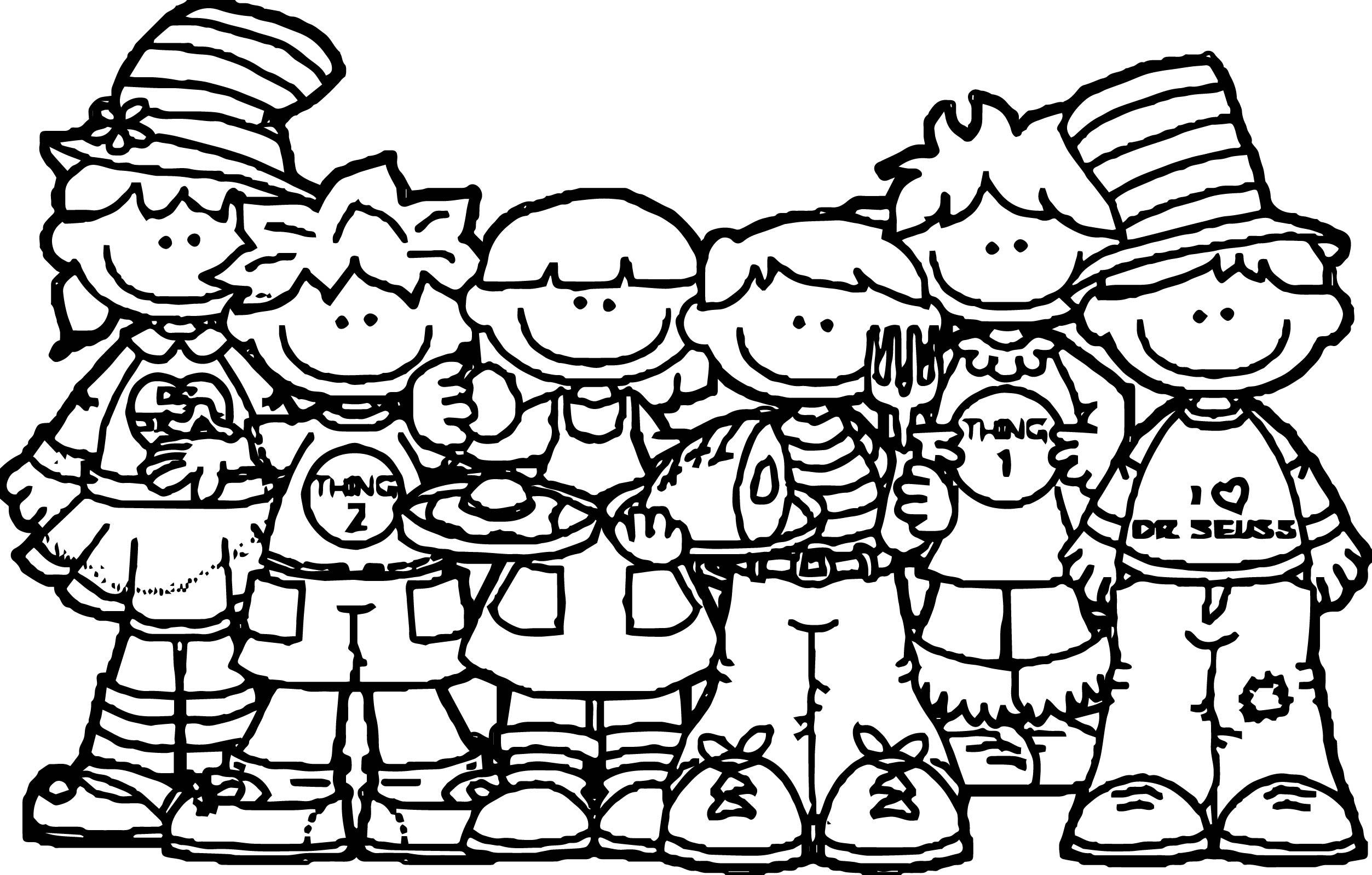 Seuss Kids 3rd Grade Coloring Page