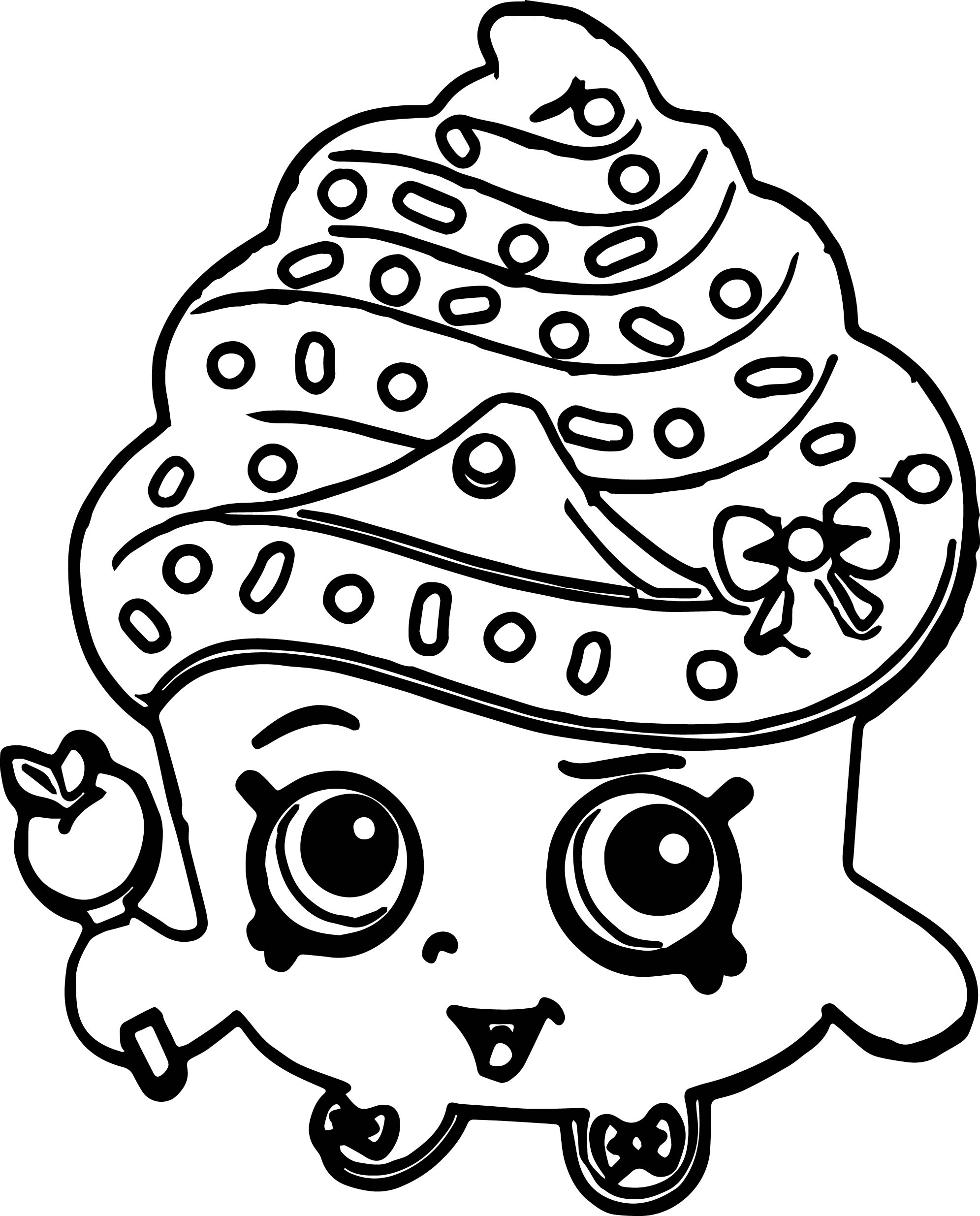 Shopkins Cute Cupcake Coloring Page