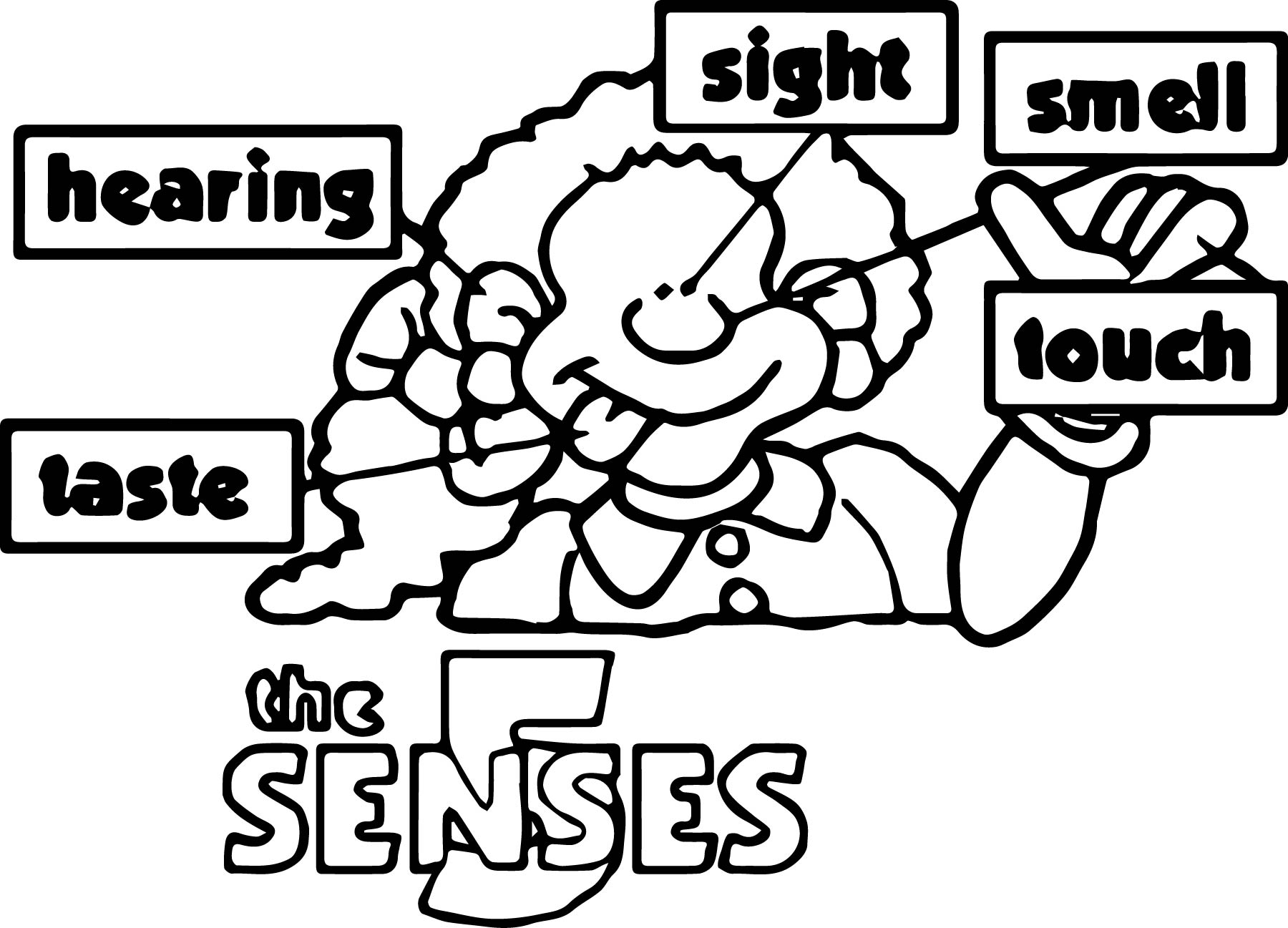 five senses coloring pages free - the 5 senses coloring page