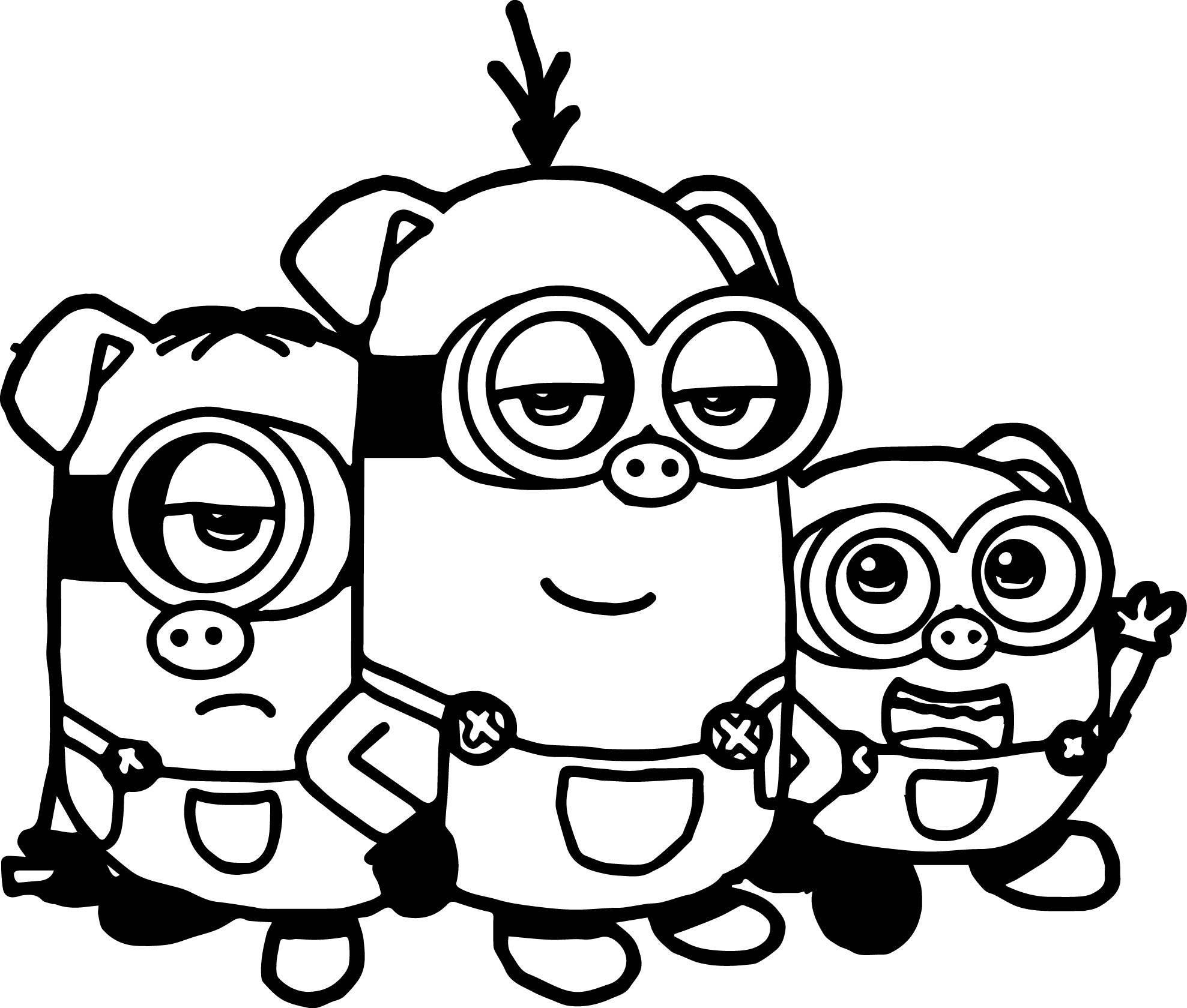 the three little pigs minions coloring page wecoloringpage