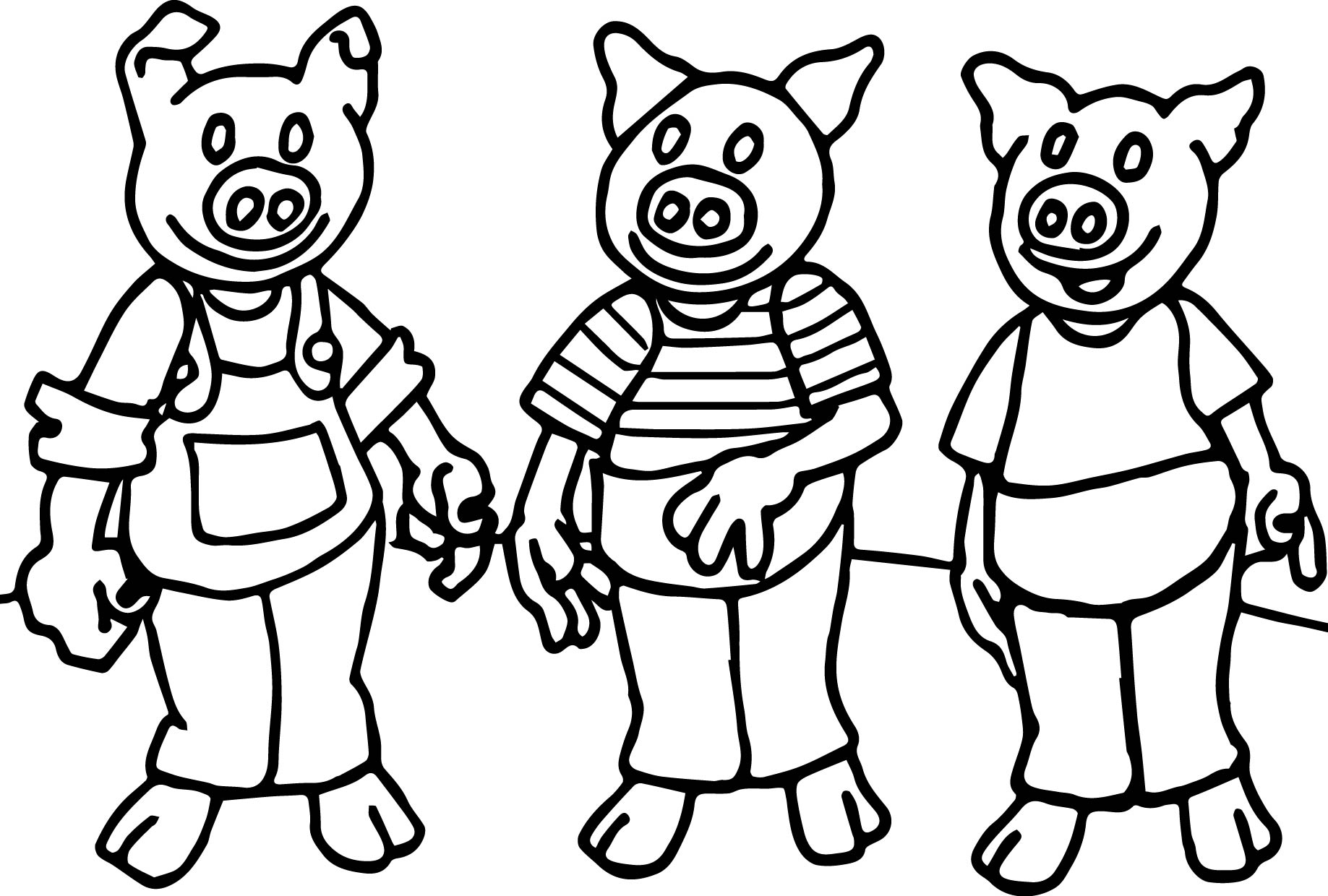 Three Little Fine Pigs Coloring Page