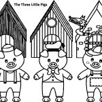 Three Little Pigs And The Big Bad Wolf Children Story Coloring Page