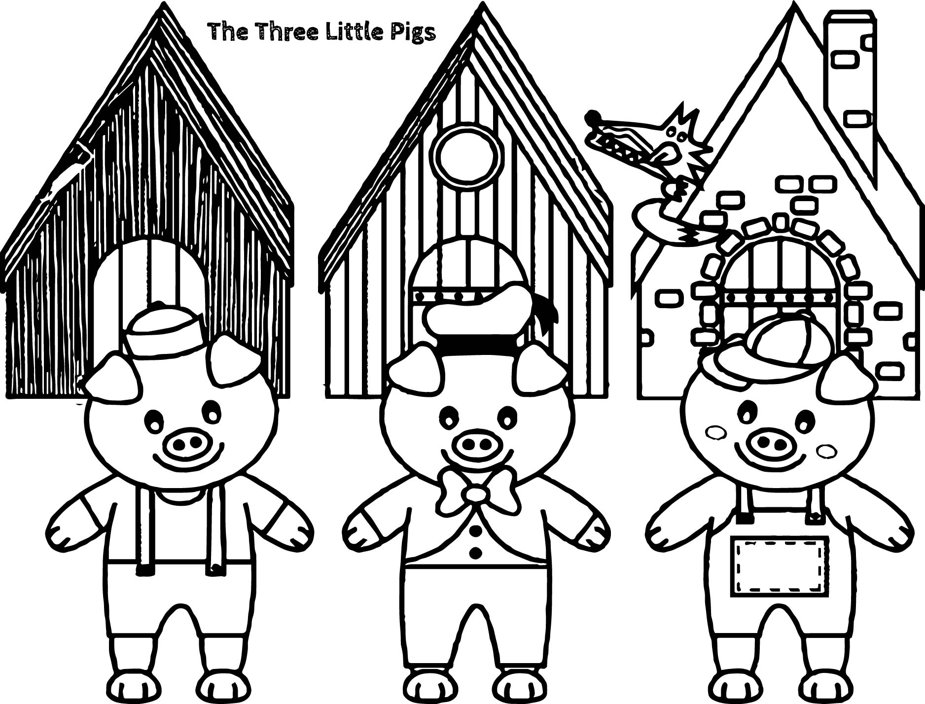 Coloring pages 3 little pigs - Three little pigs and the big bad wolf children story coloring page