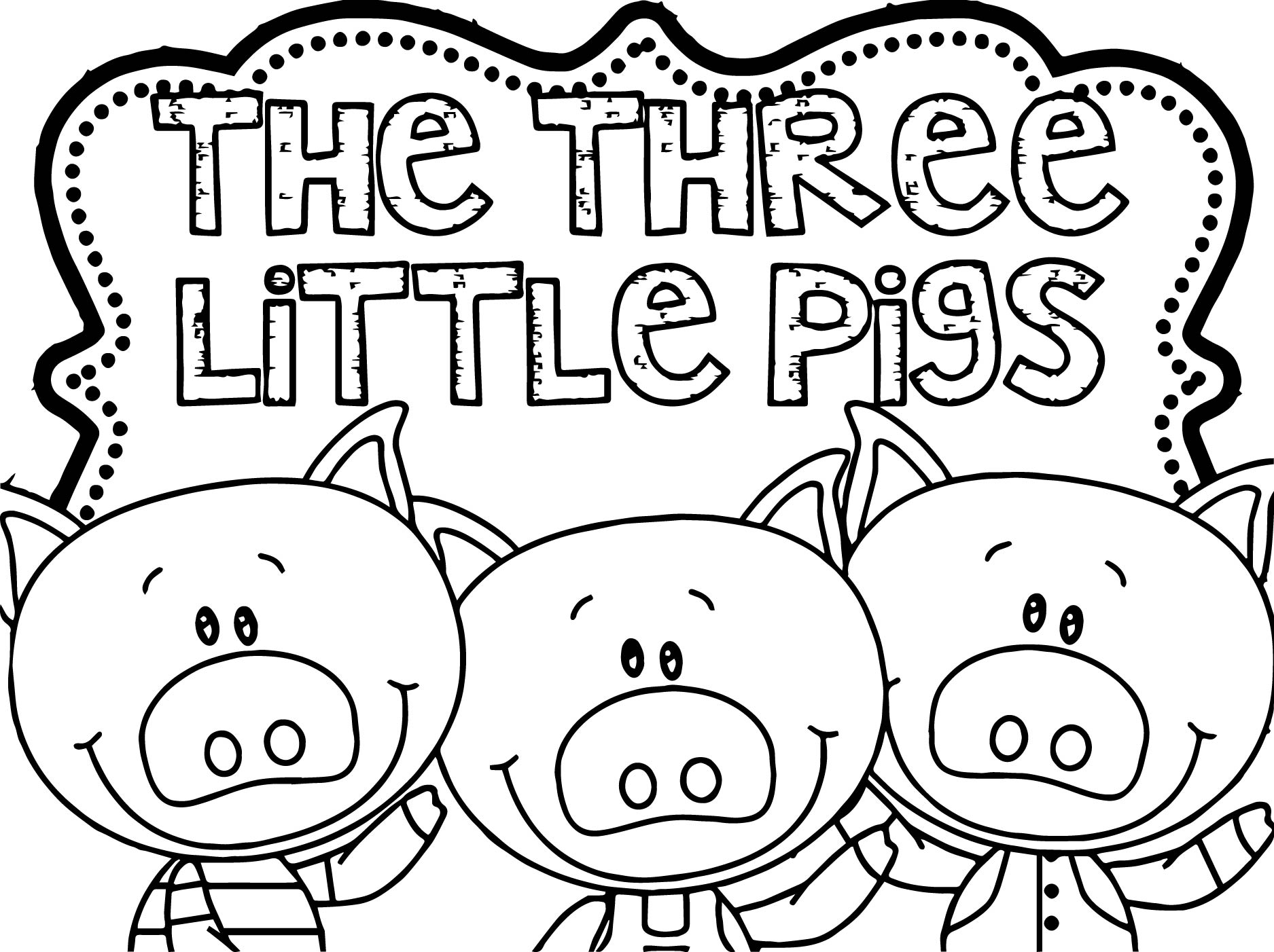 Coloring pages 3 little pigs - Three Little Pigs Coloring Page
