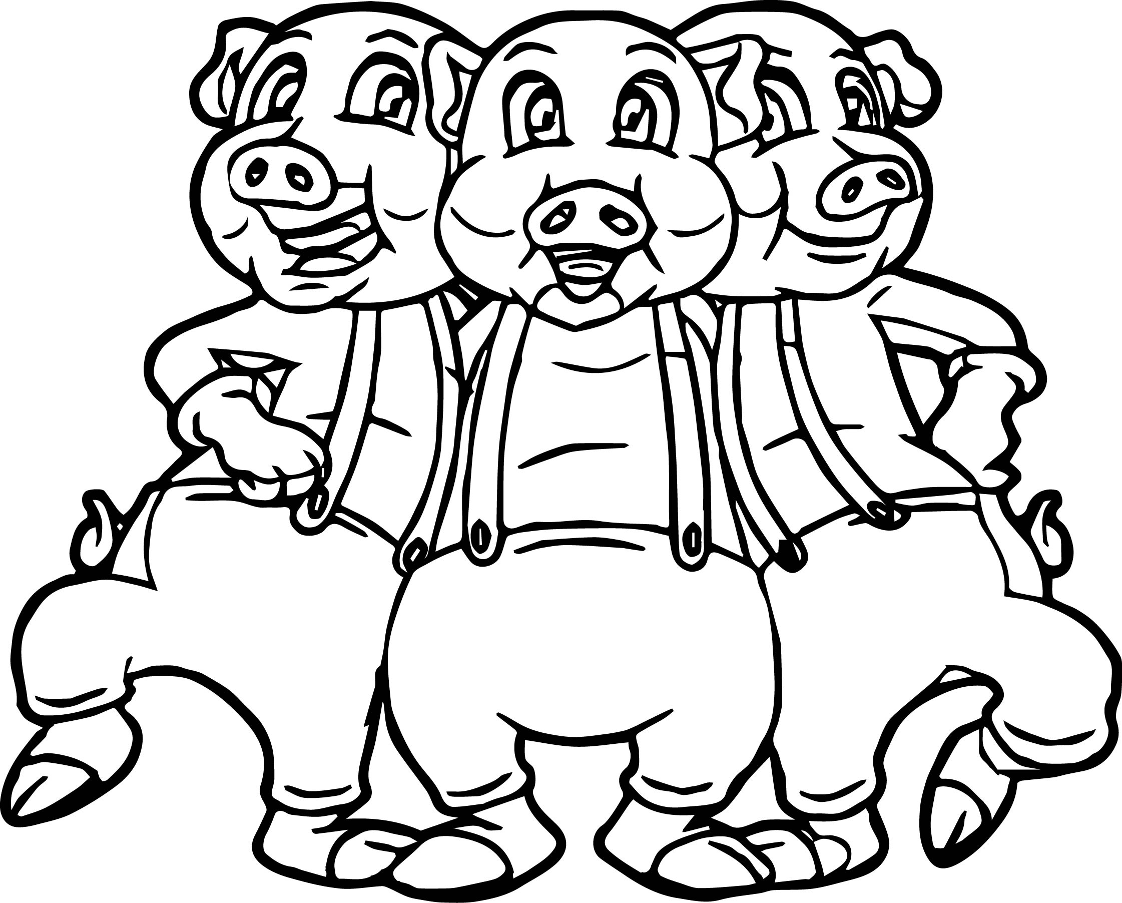 coloring pages pigs - three little pigs dancing coloring page