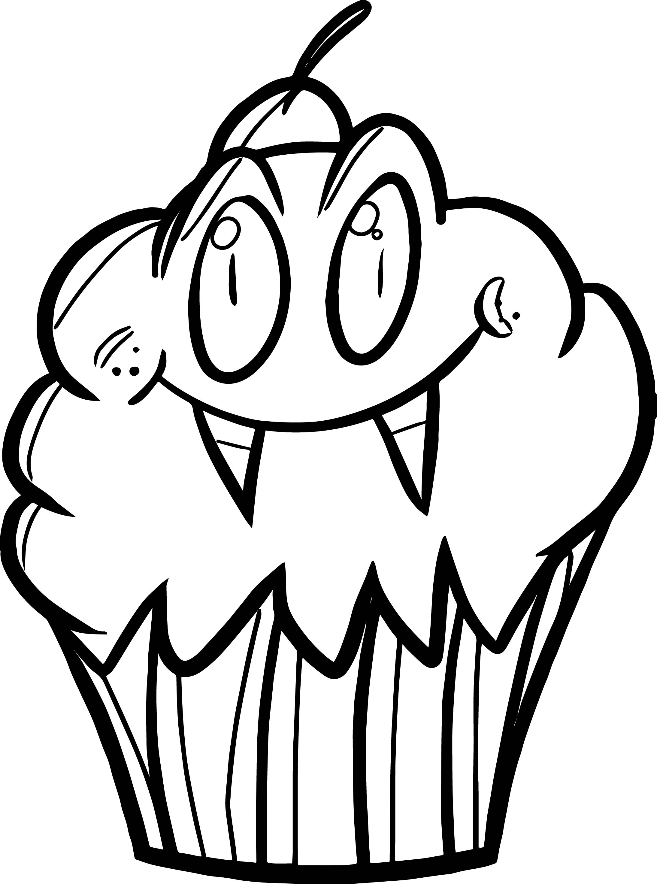 Vampire Cupcake Cartoon Coloring Page