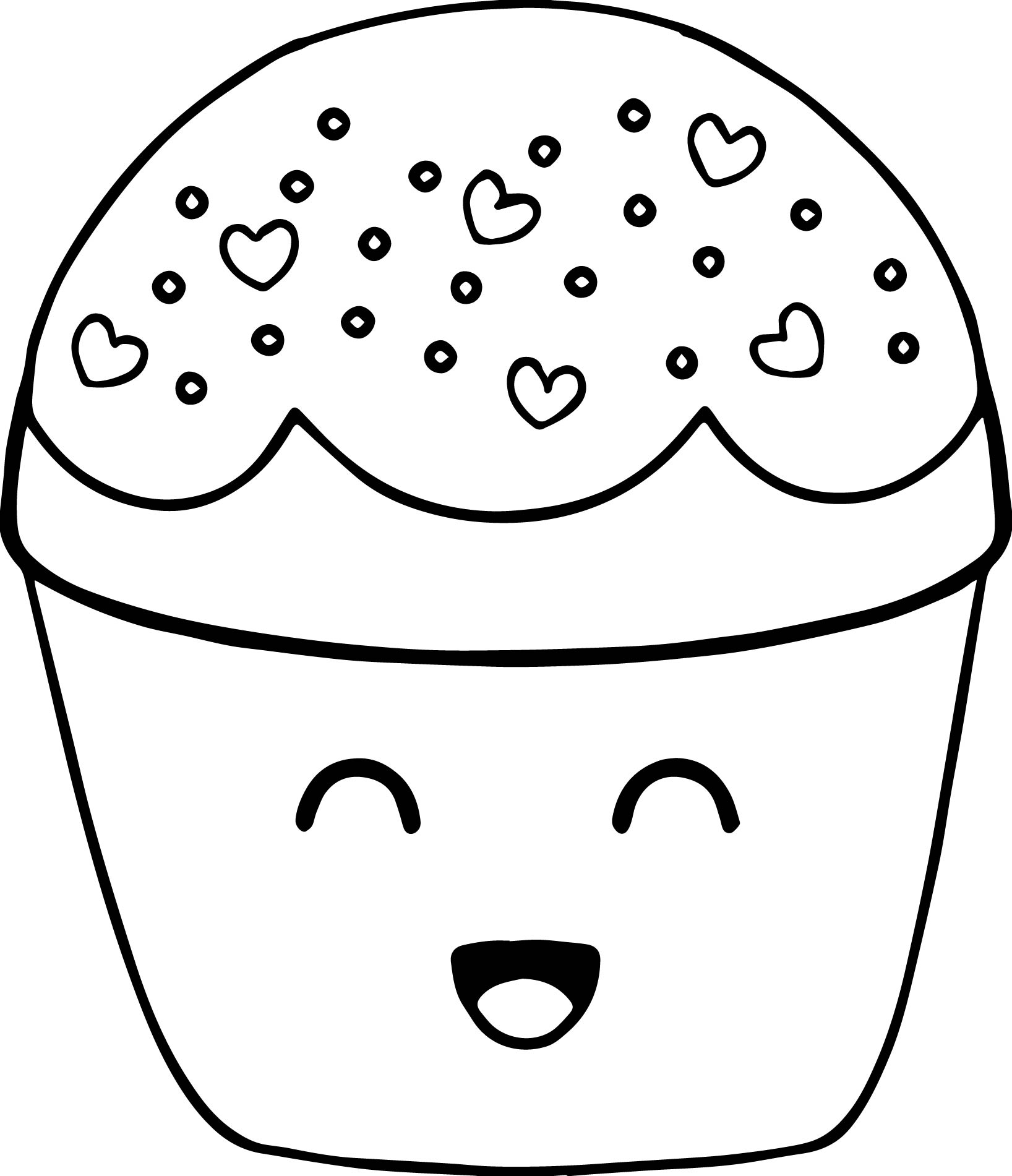 very cute boy cupcake cartoon coloring page