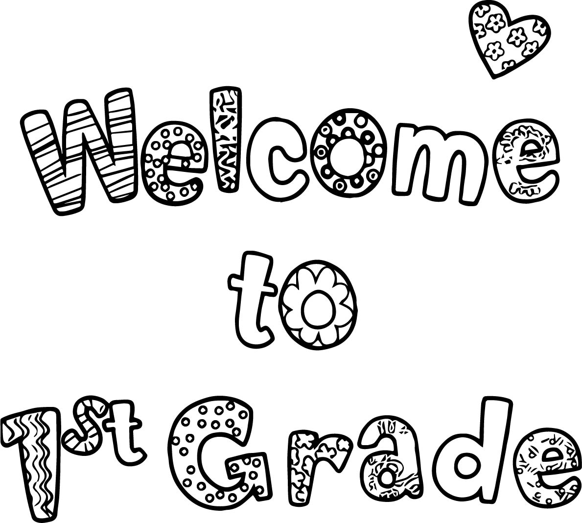 Welcome To First Grade Text Coloring Page