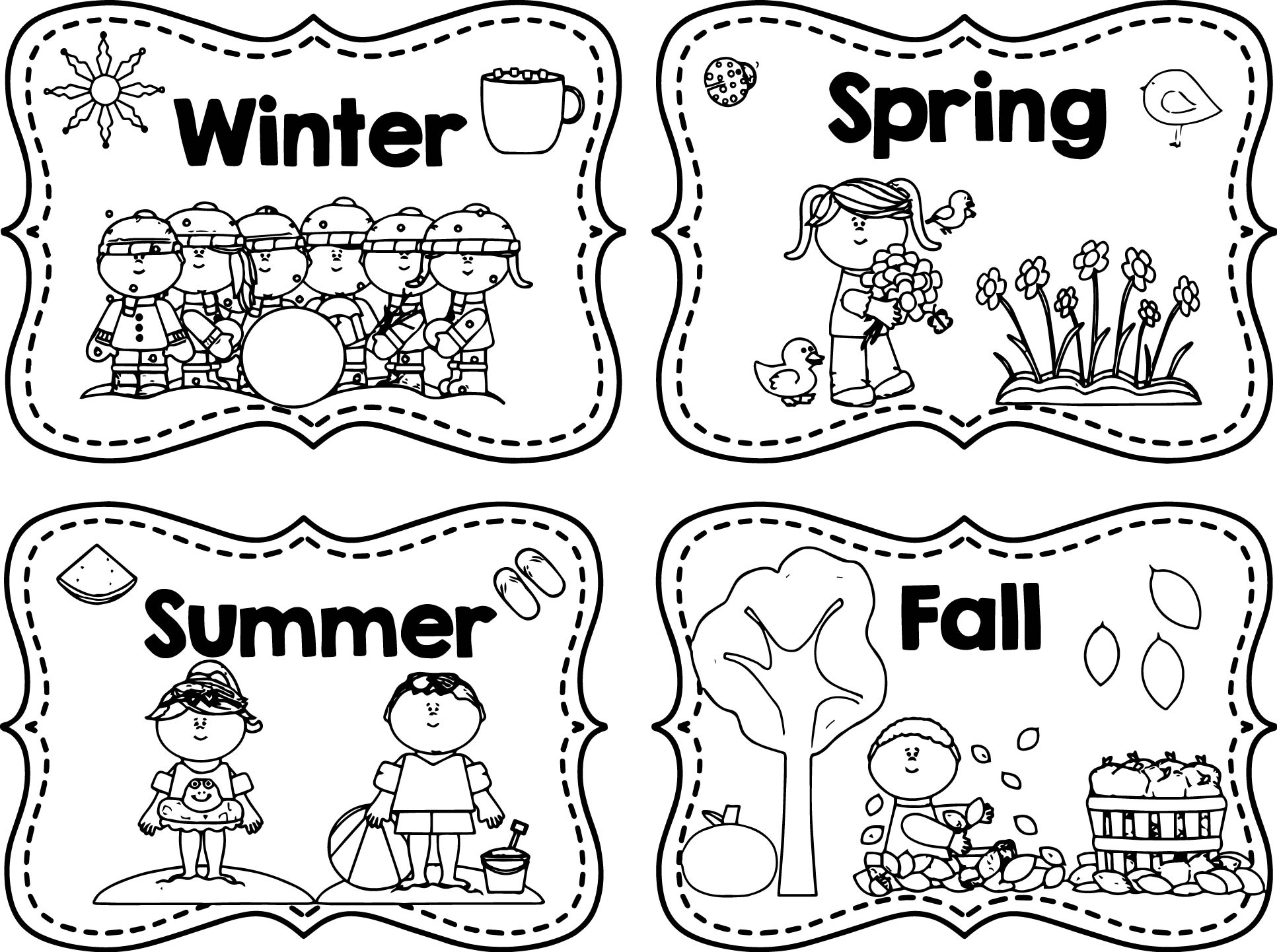Winter Spring Summer Fall Coloring Page