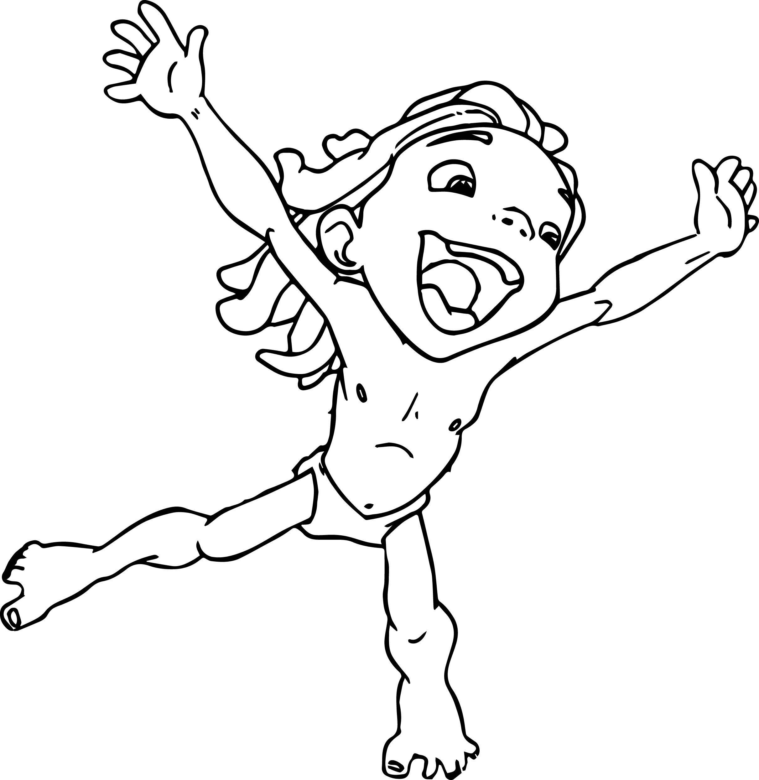 Young Tarzan Hurray Coloring Page