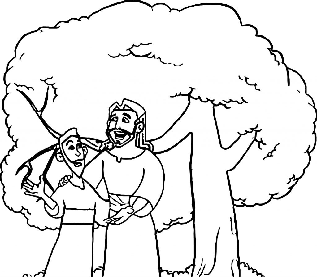 Zacchaeus Talking Jesus Coloring