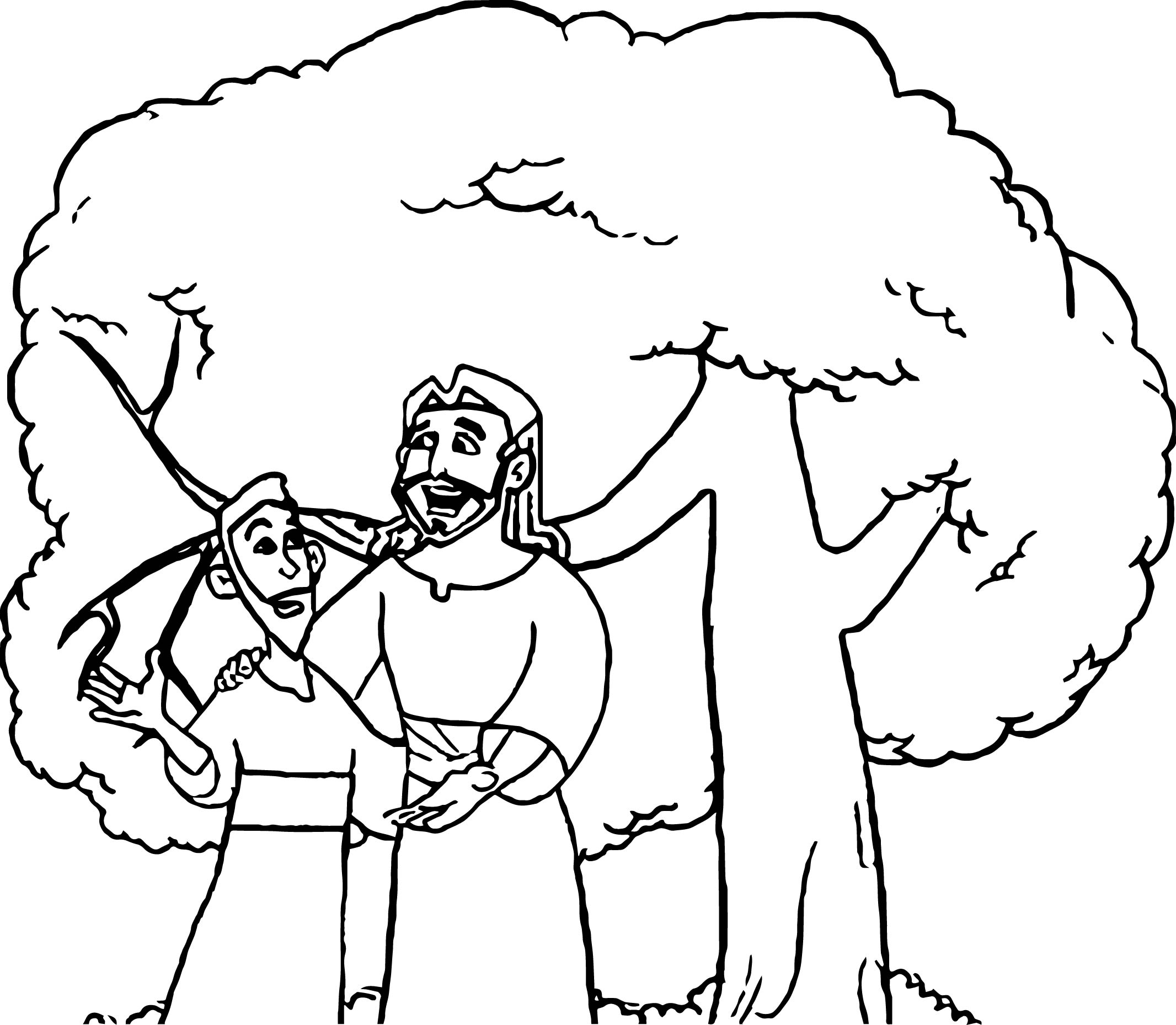 Zacchaeus Talking Jesus Coloring Page