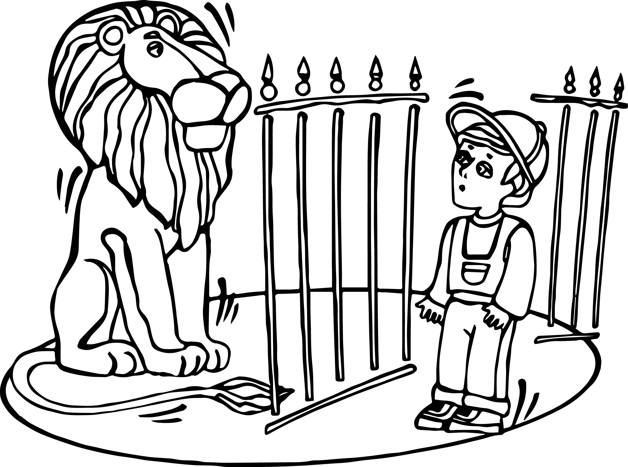 Zoo Lion And Child Coloring Page | Wecoloringpage.com