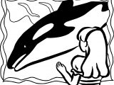 Zoo Whale And Girl Coloring Page