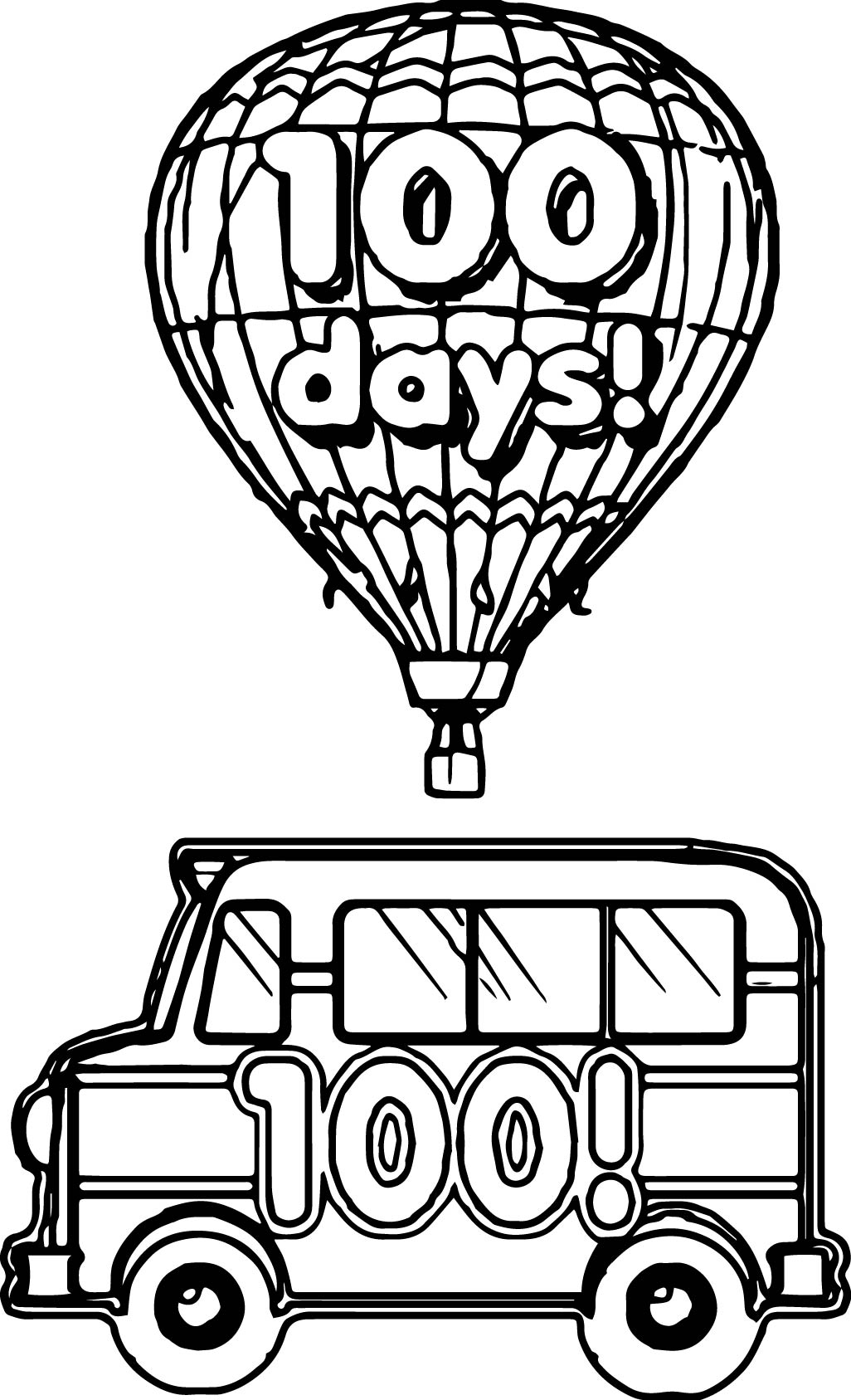 100 Days Bus Balloon Coloring Page | Wecoloringpage