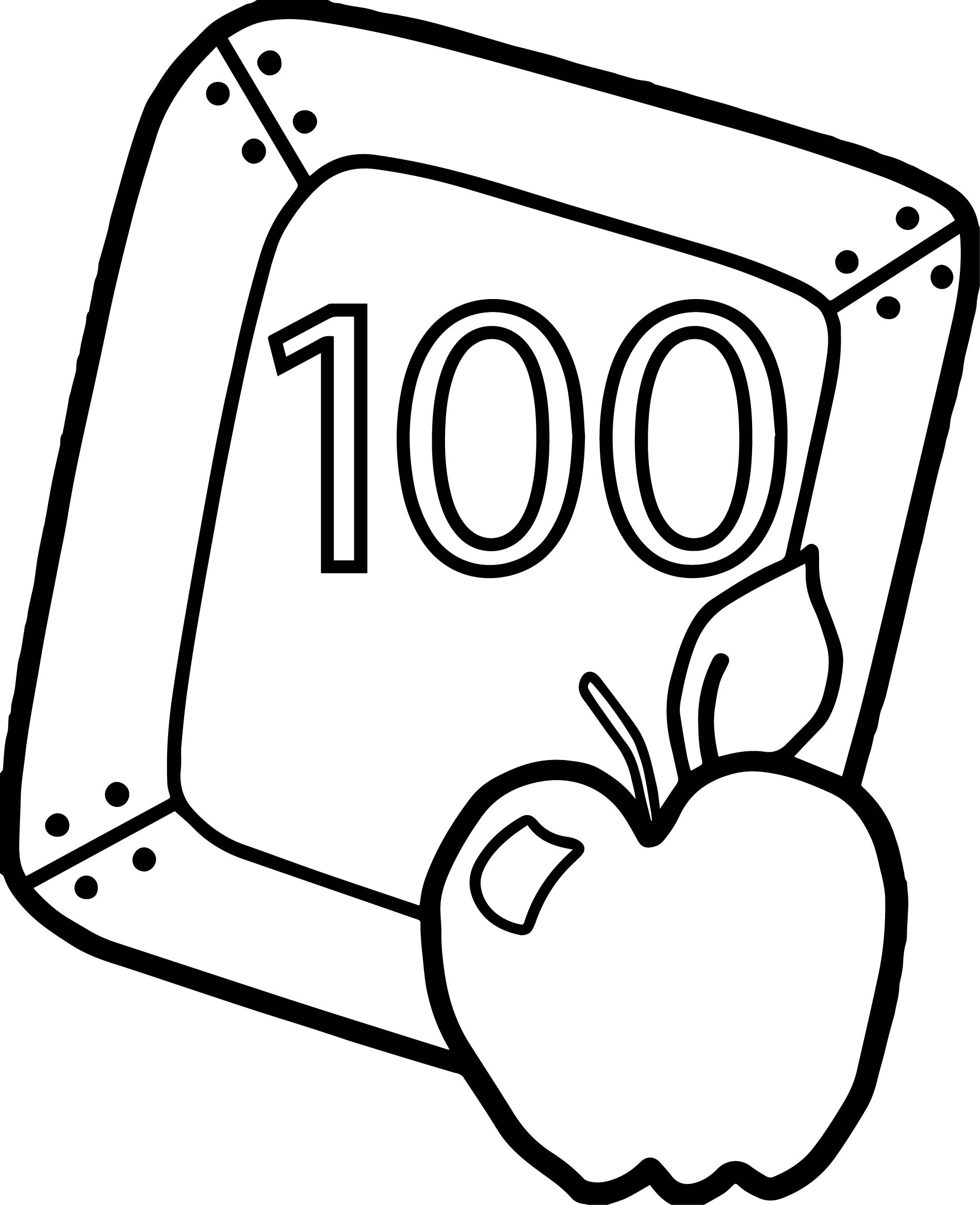 100 Days Of School Apple Board Coloring Page