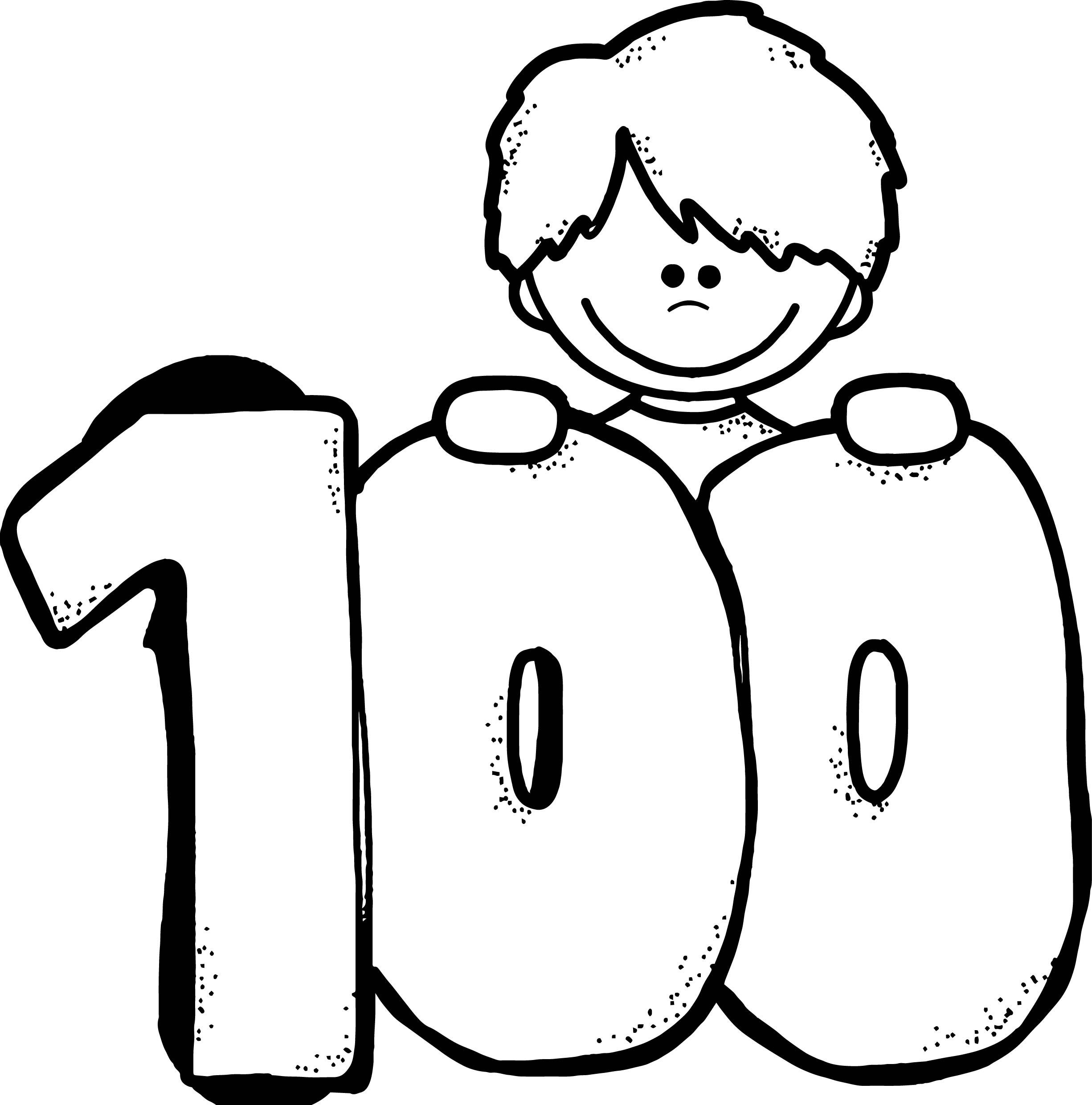 100 Days Of School Child Coloring Page Wecoloringpage