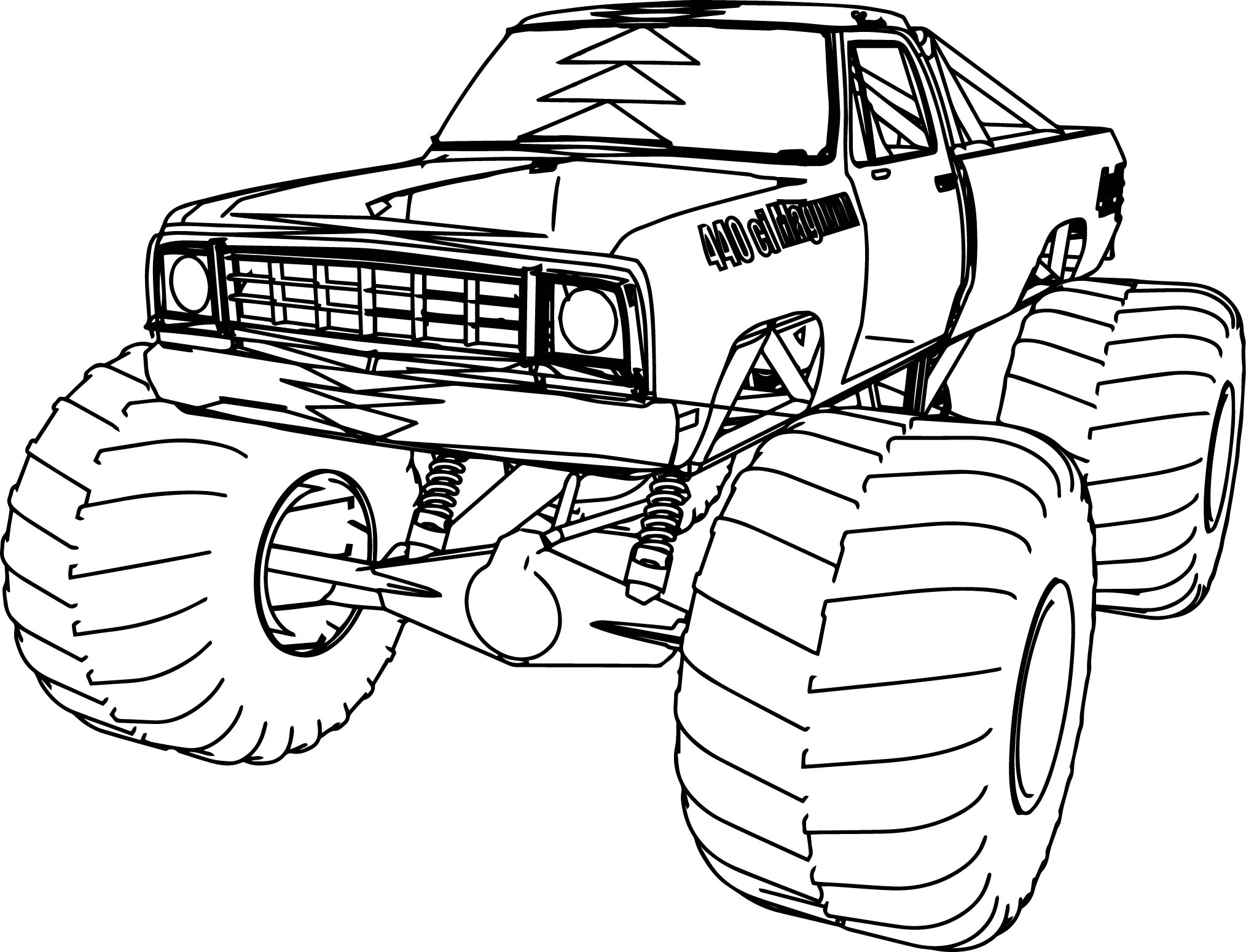 1976 Dodge Monster Truck 4x4 Coloring Page