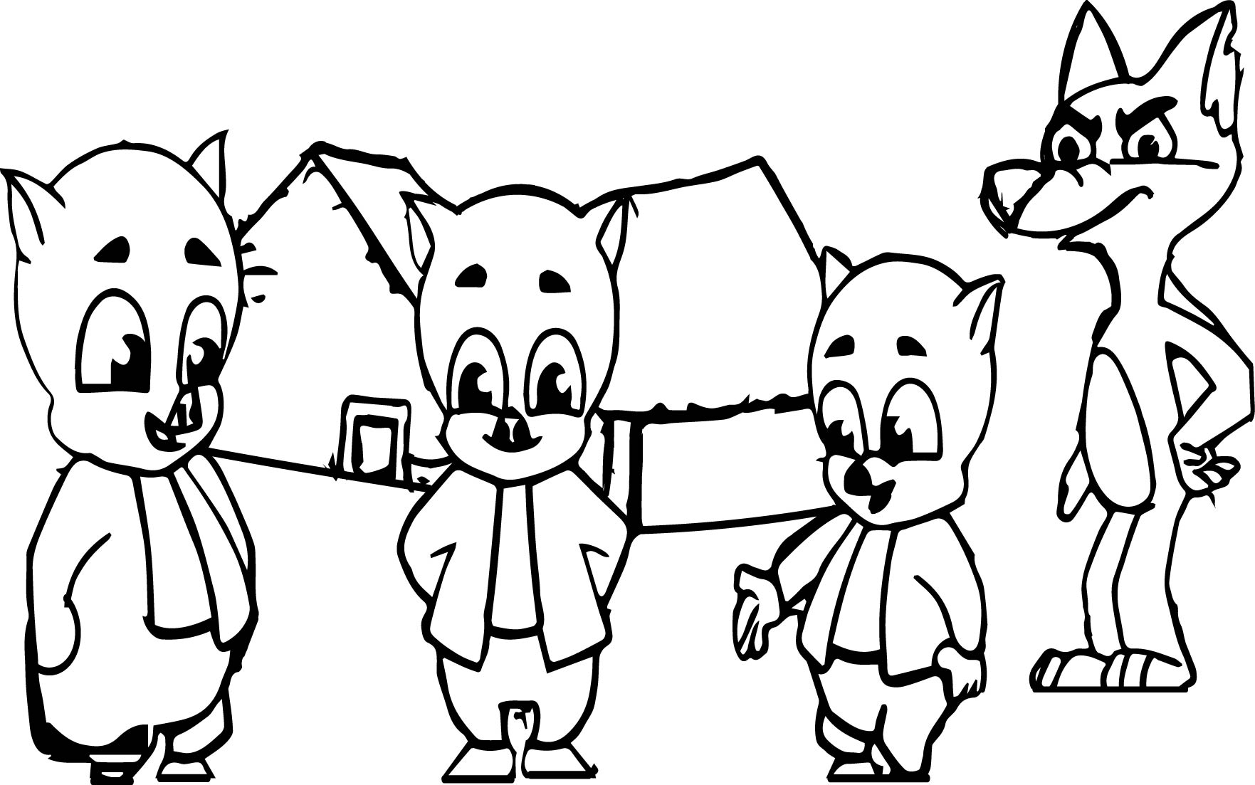 Coloring pages 3 little pigs - 3 Little Pigs And The Big Bad Wolf Coloring Page