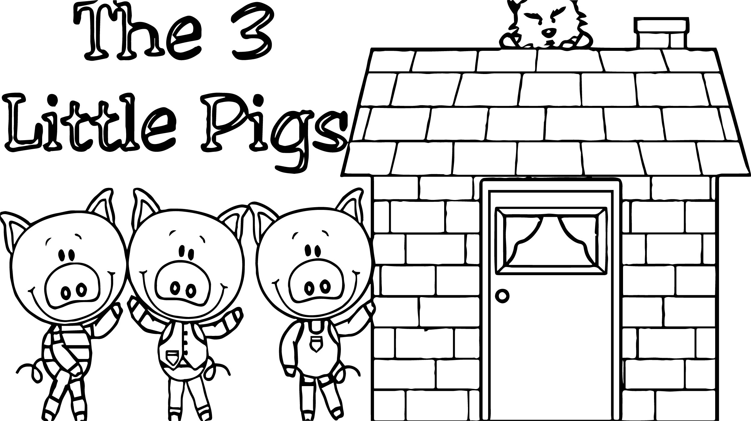 three little pigs houses coloring pages eskayalitim