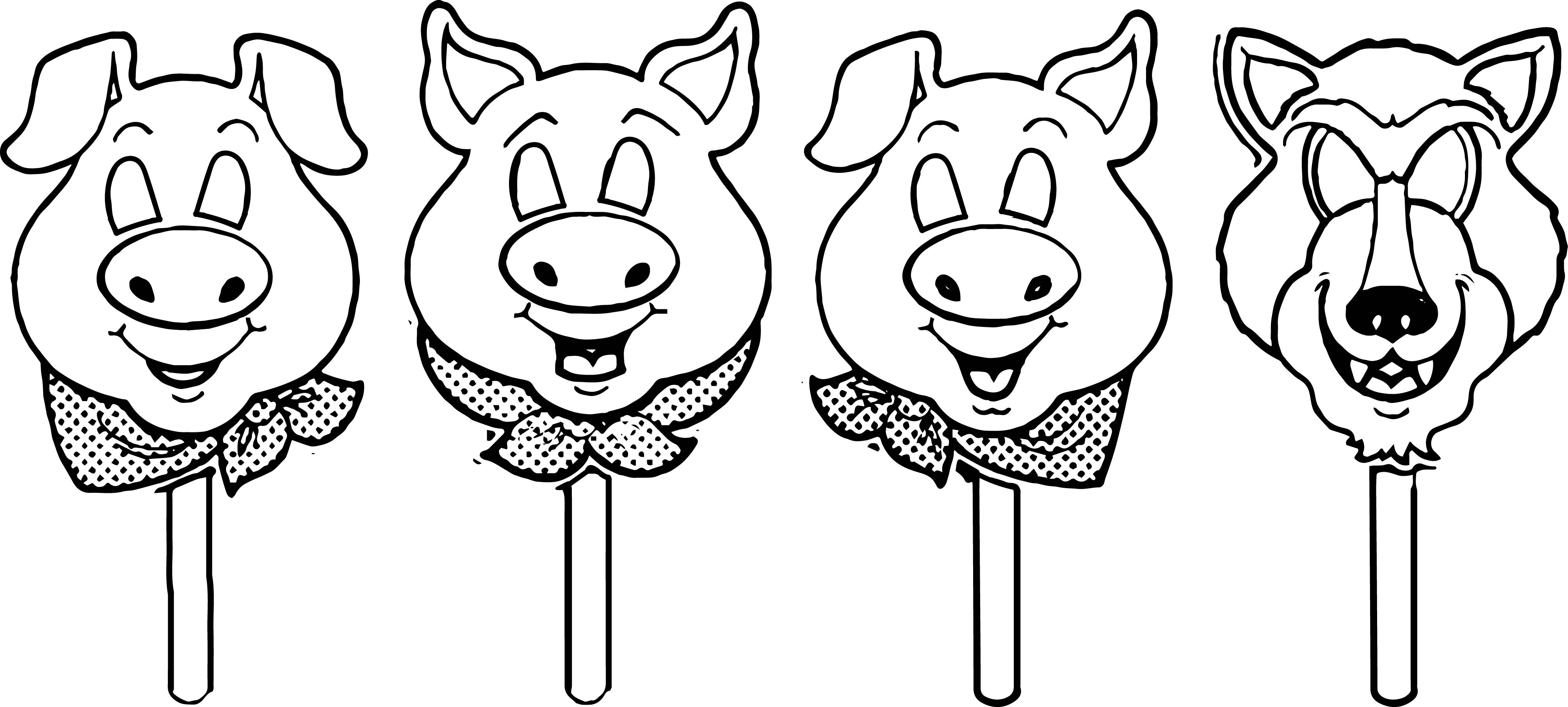 3 little pigs mask template coloring page for The three little pigs puppet templates
