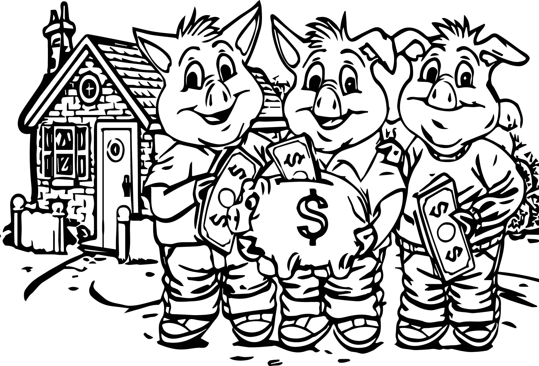 3 pigs cover money coloring pages wecoloringpage