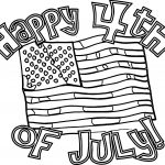 4th July Flag Text Coloring Page