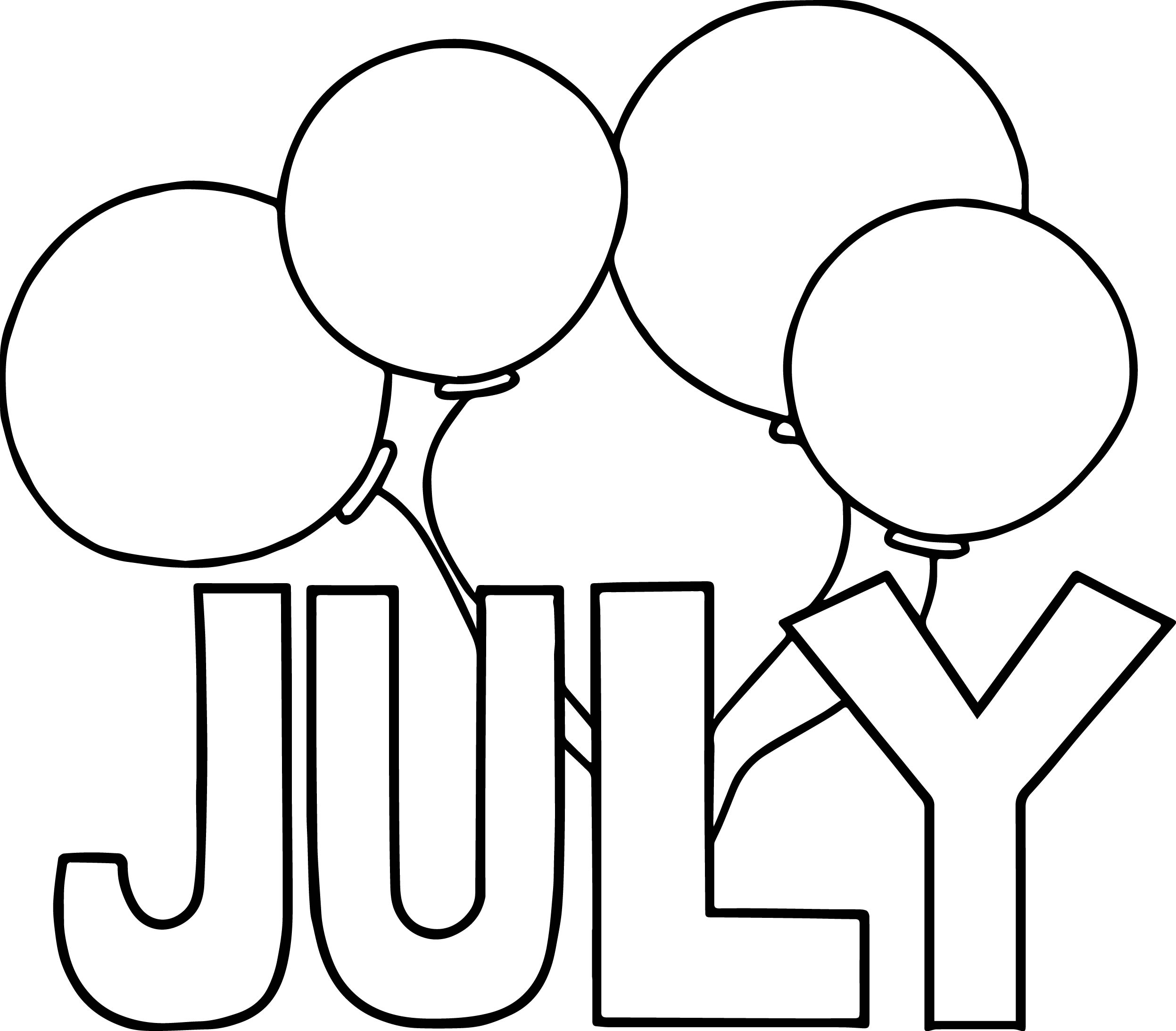 4th Of July Balloon Coloring Page