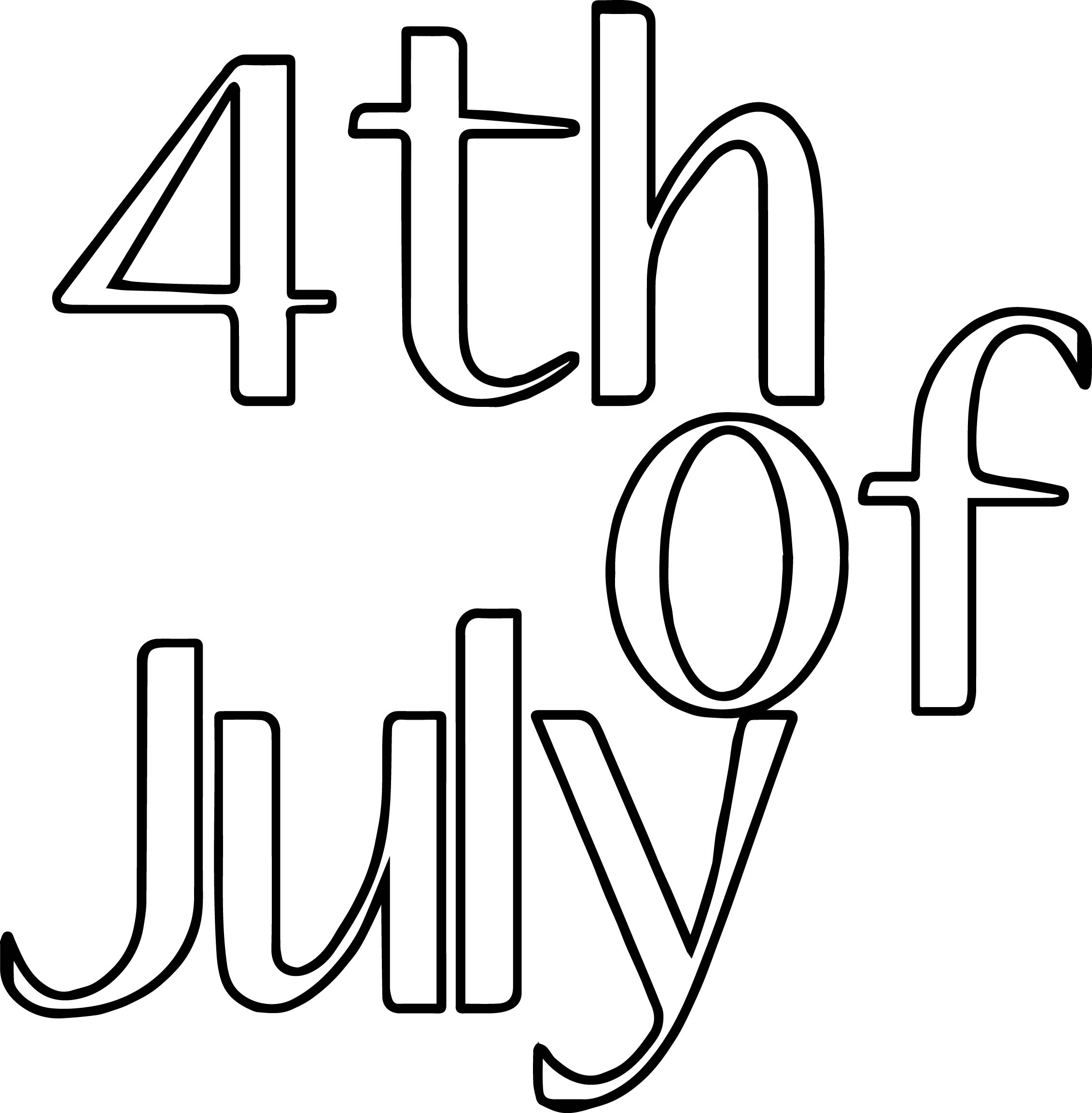 4th Of July Basic Text Coloring Page