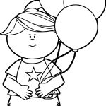 4th Of July Girl Balloon Coloring Page
