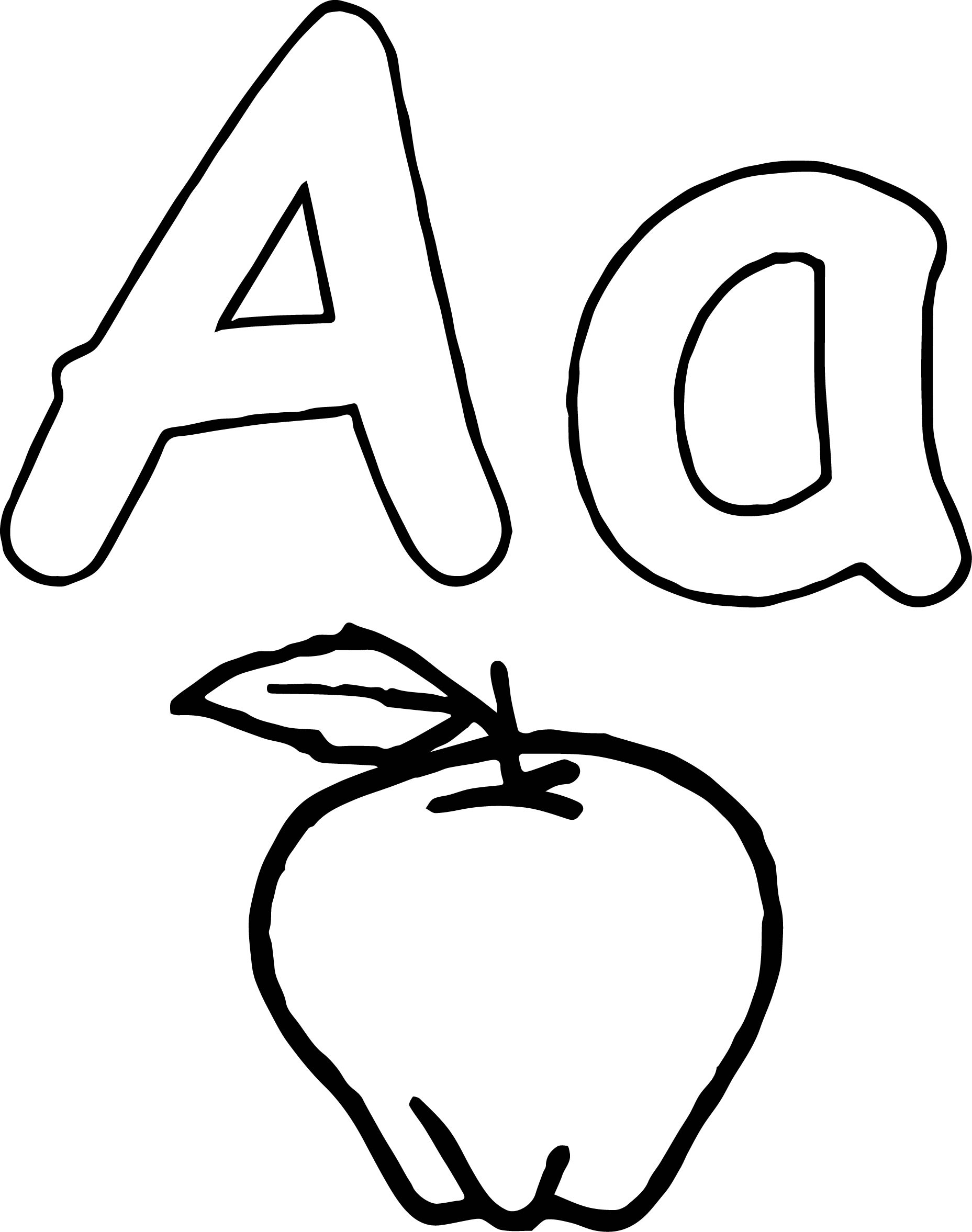 Aa Apple Coloring Page