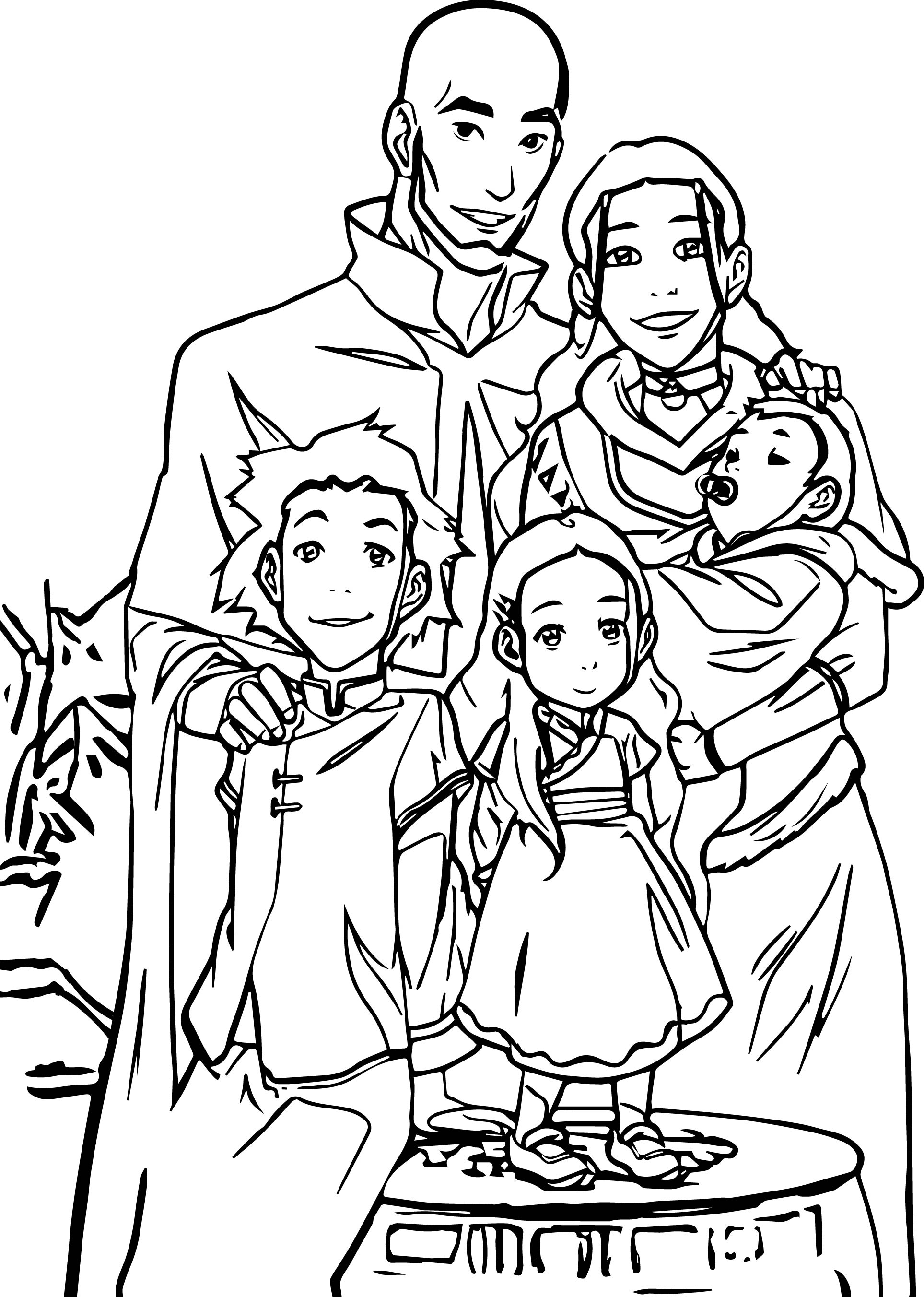 aang and kataras family portrait avatar coloring page wecoloringpage