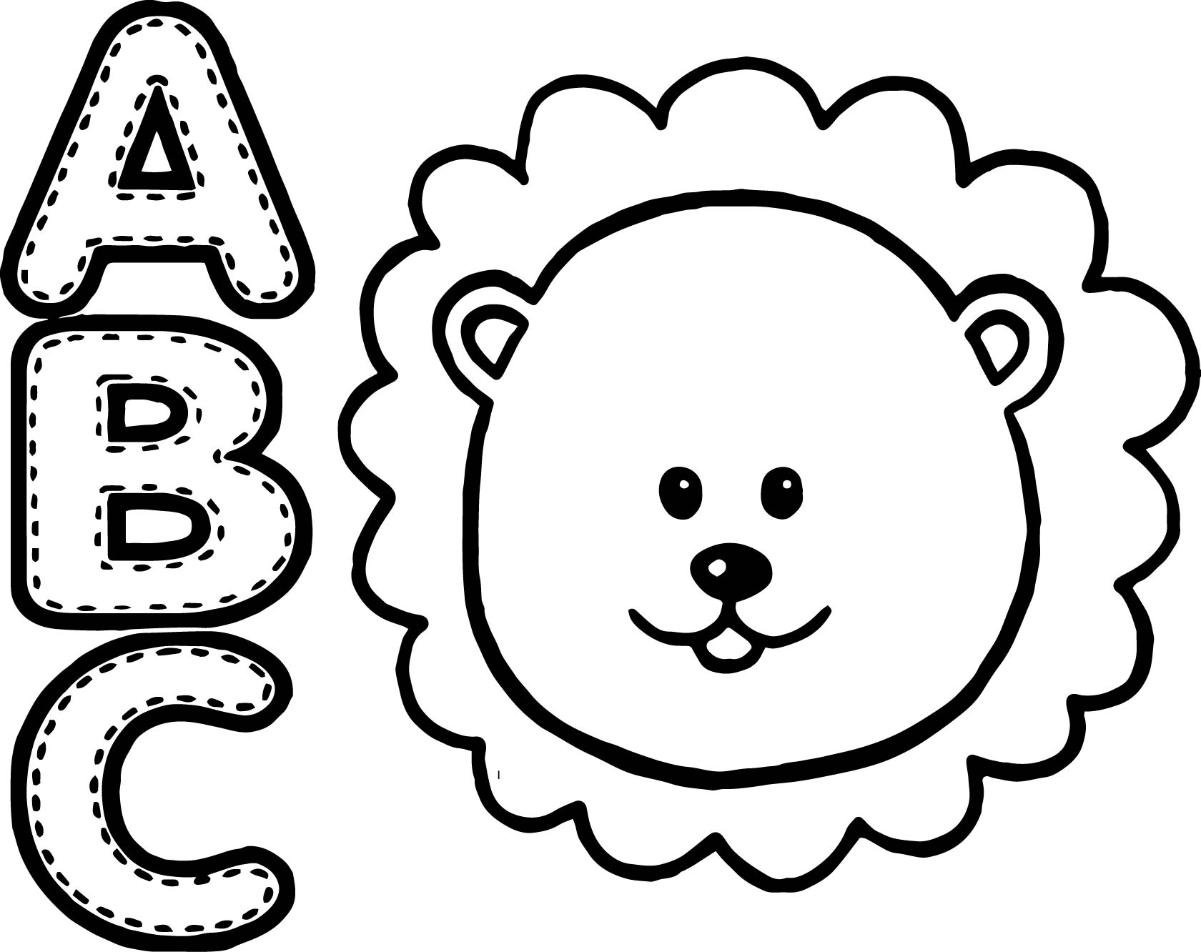 abc animal lion coloring page wecoloringpage