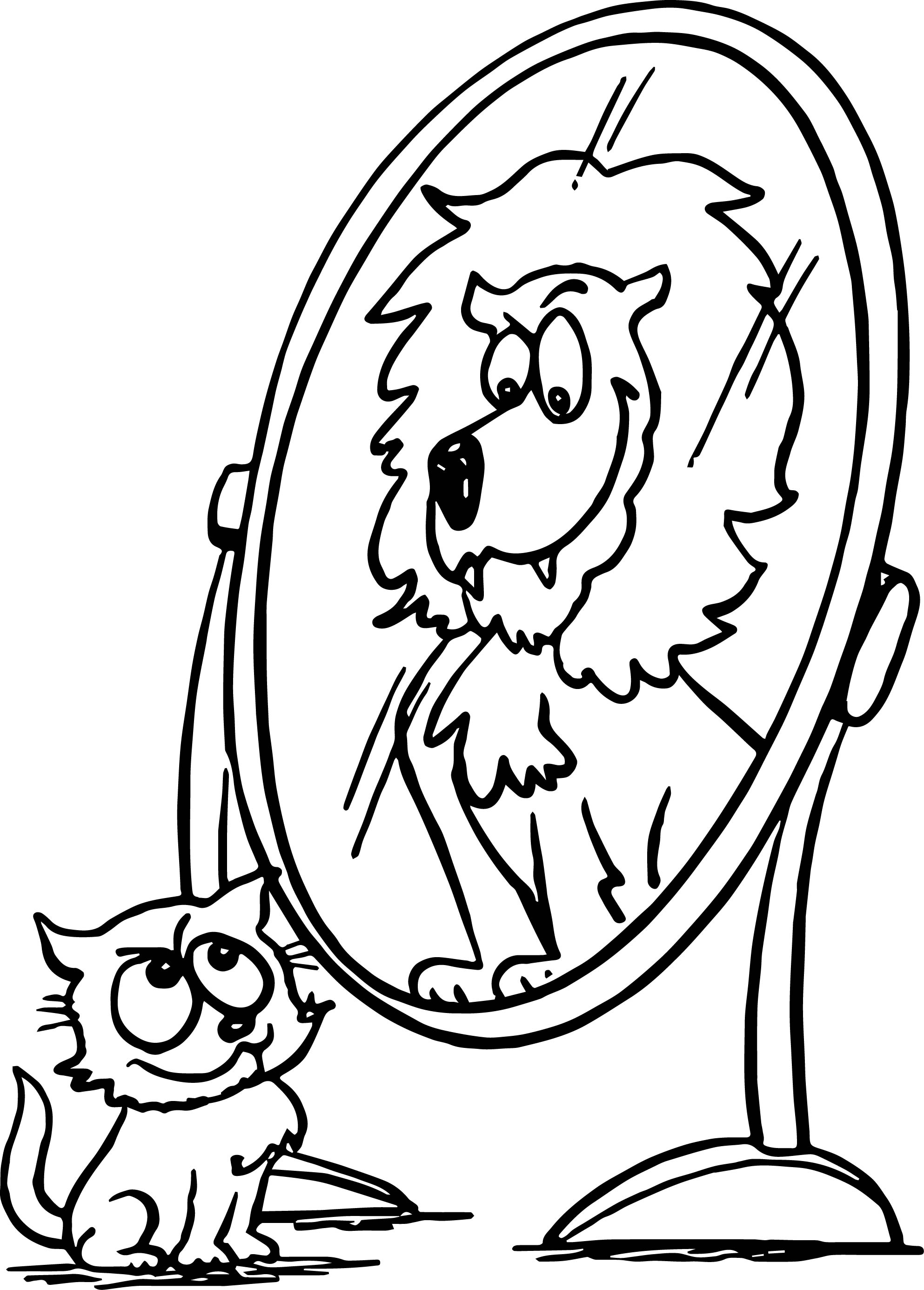 Activity animal cat lion mirror coloring page for Disco ball coloring page