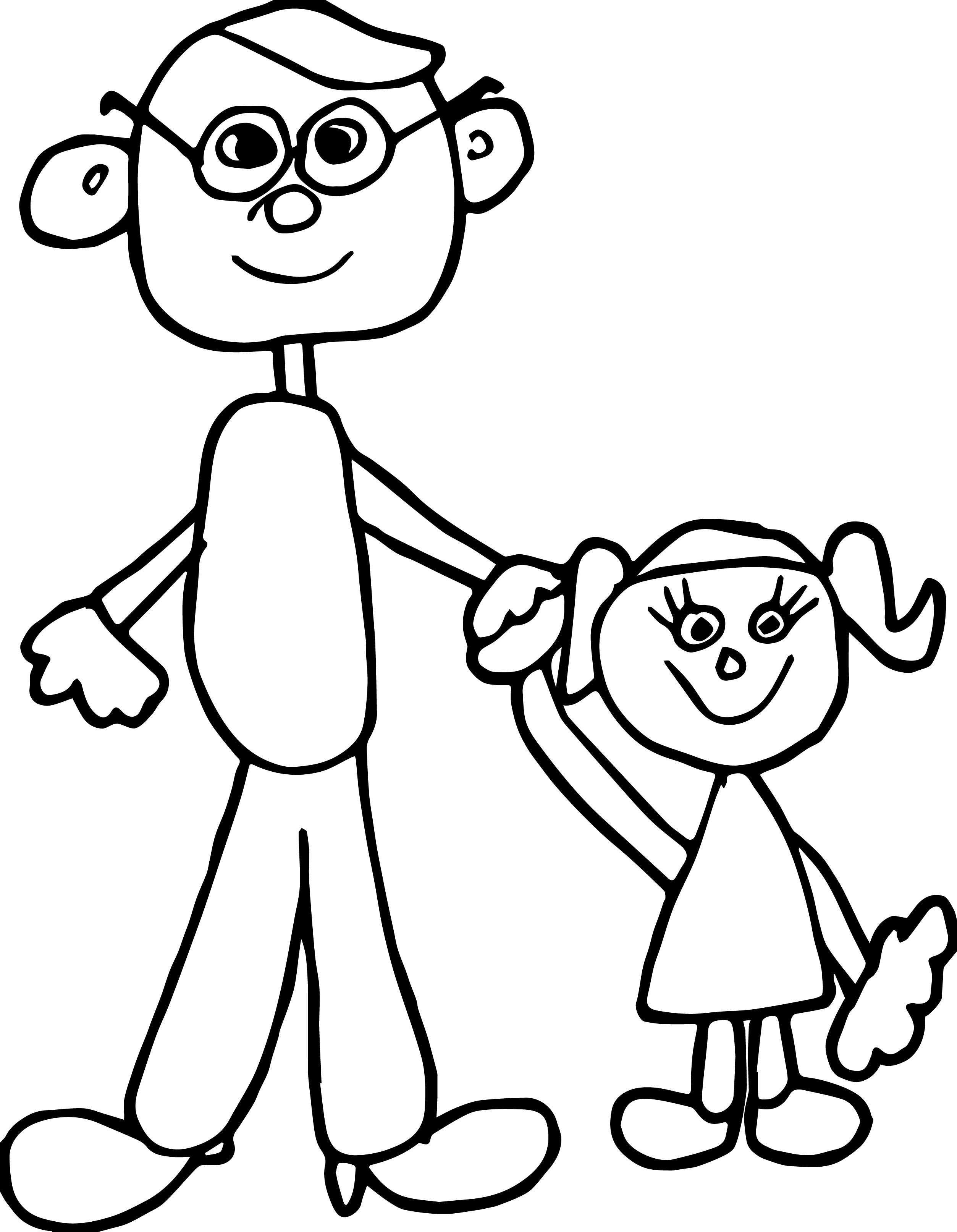 Adult And Girl Coloring Page