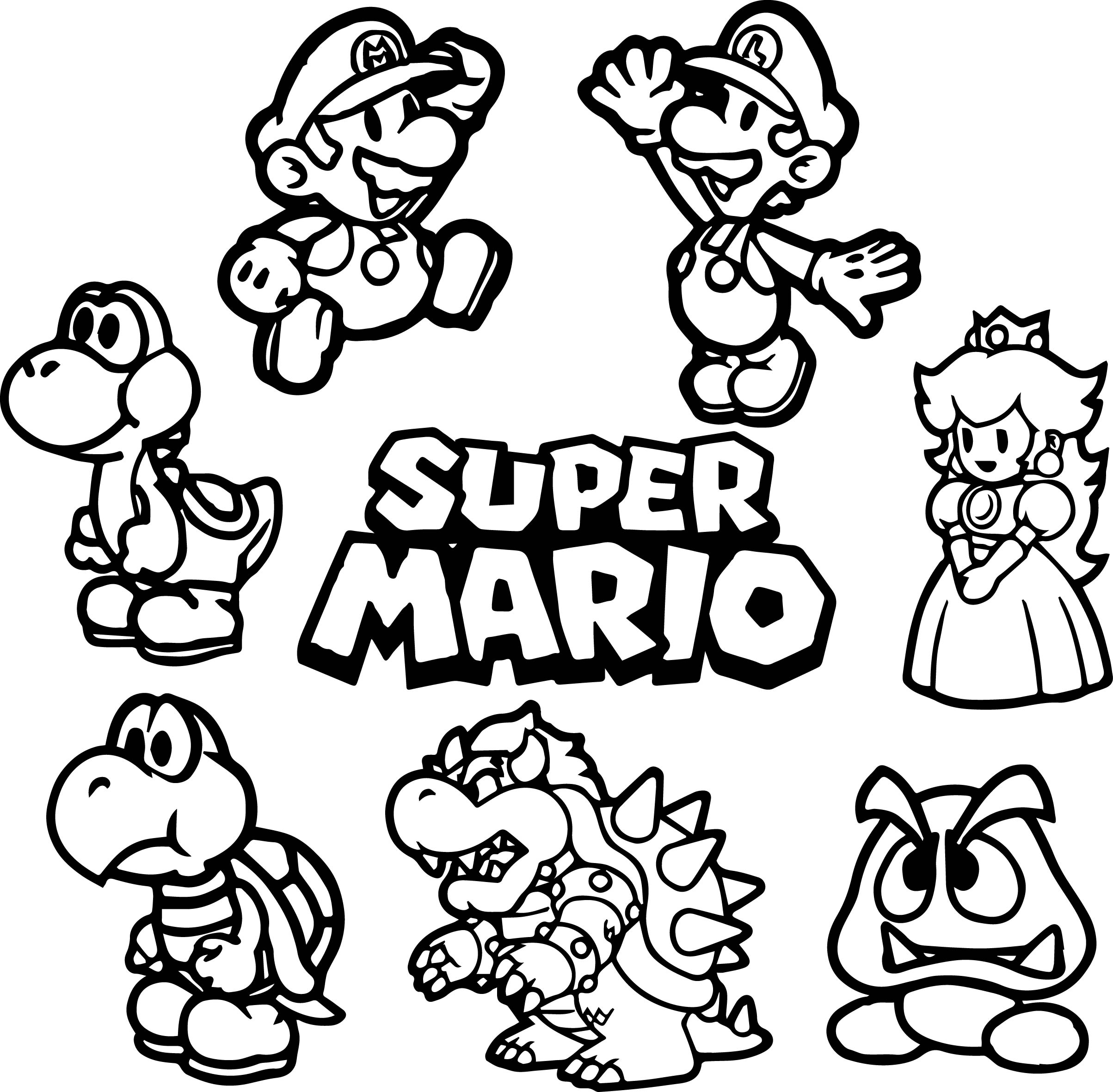 All super mario coloring page for Mario color page