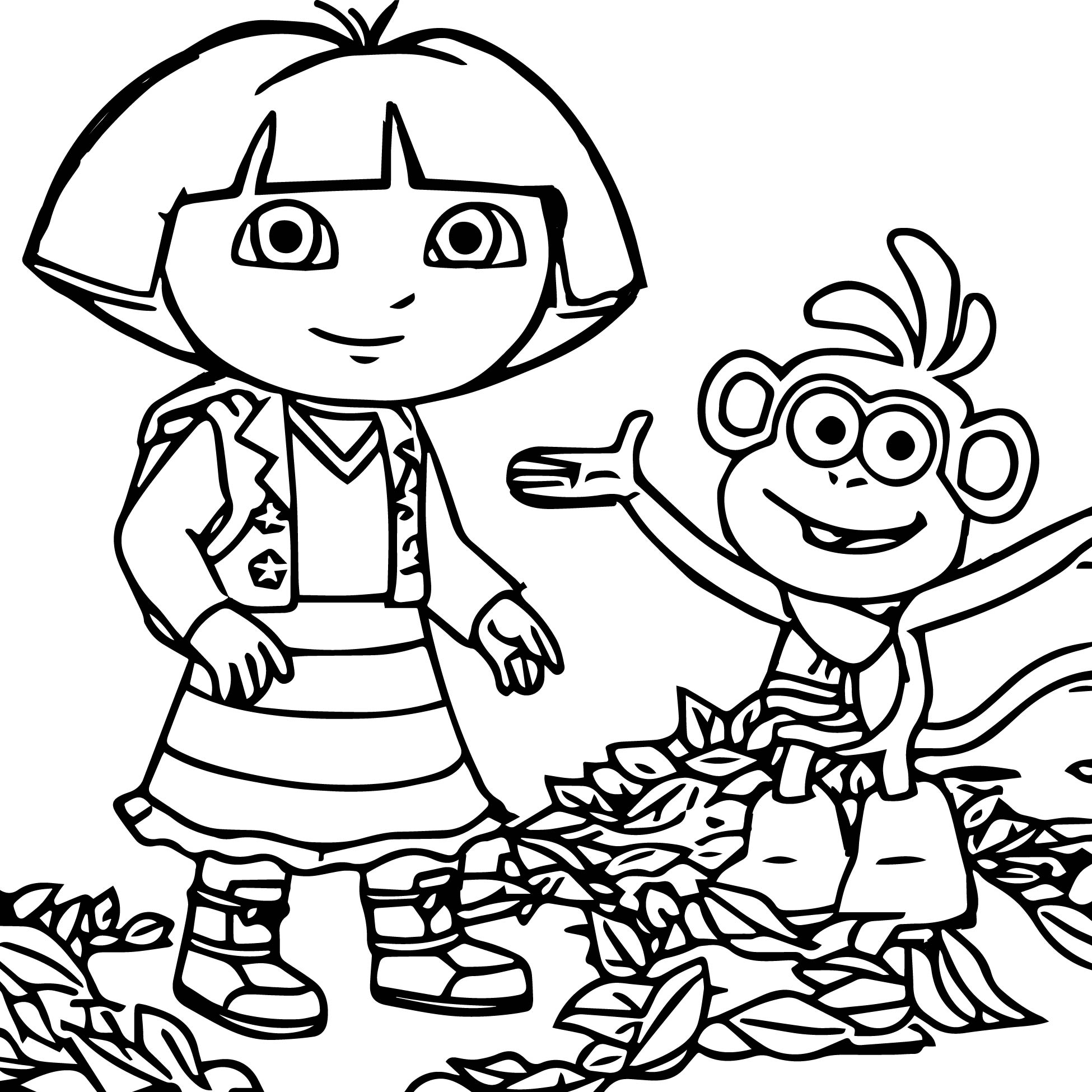 All together now dora the explorer doras standing up for for Dora black and white coloring pages