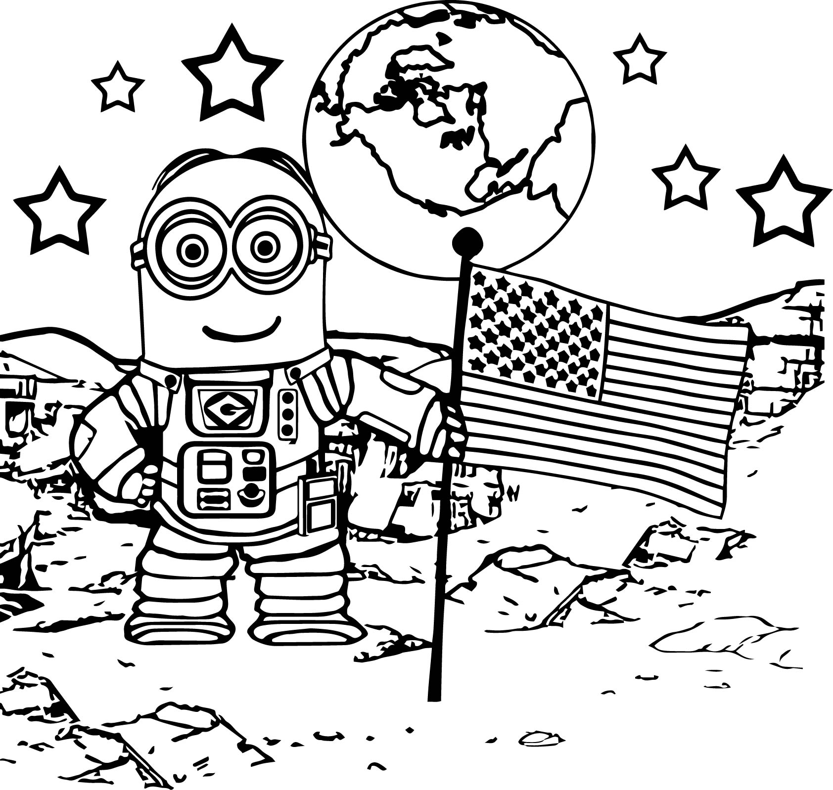 American Minion Going To Moon Coloring Page