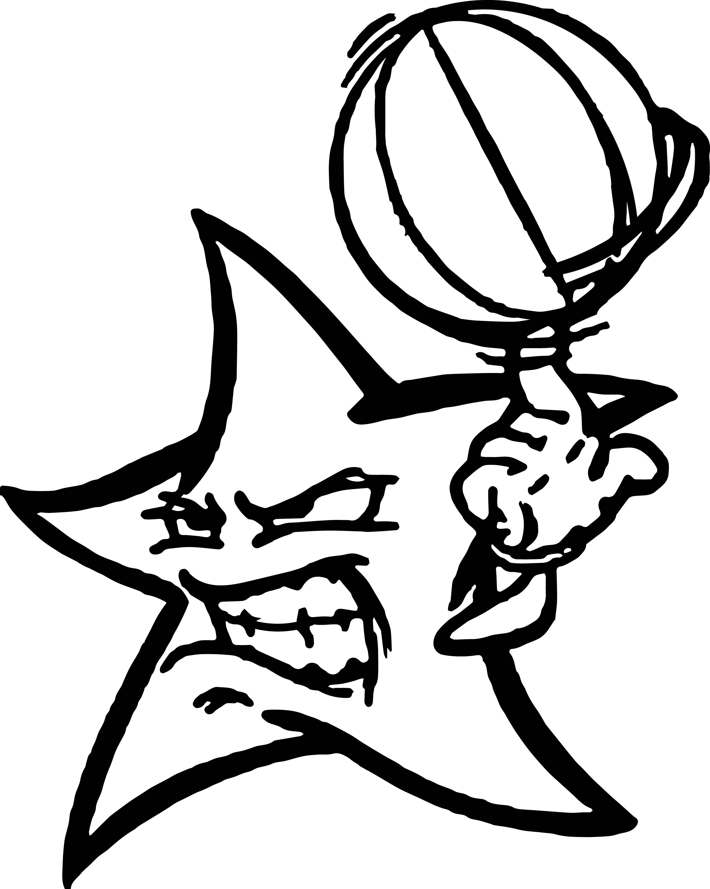 Angry Star Playing Basketball Coloring Page