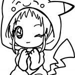 Anime Girl Pikachu Dress Coloring Page