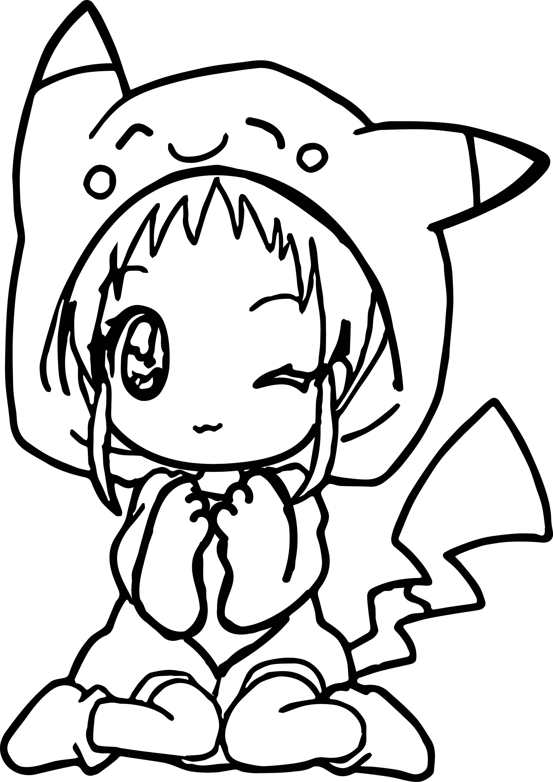 Co coloring pages of anime for teens - Anime Girl Pikachu Dress Coloring Page