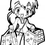 Anime Shopping Girl Coloring Page