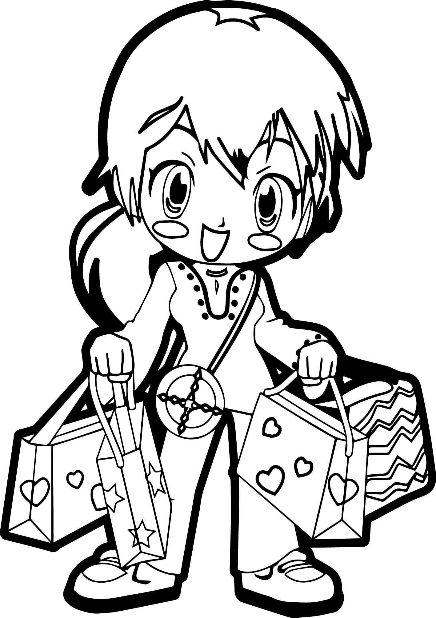 anime shopping coloring page wecoloringpage