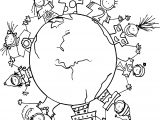 Around World Computer For Kids Coloring Page