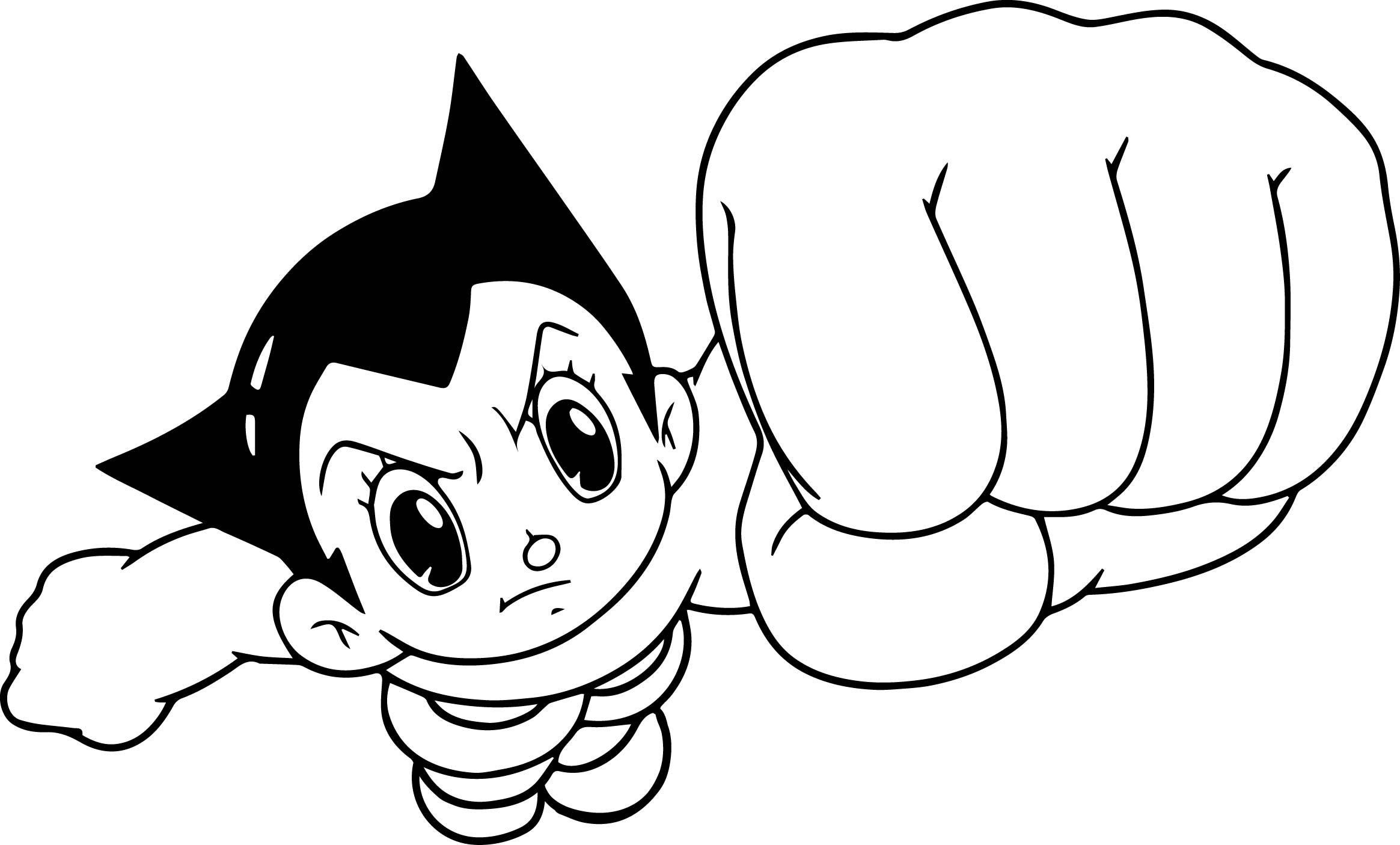 Astro Boy Punch Hand Coloring Page