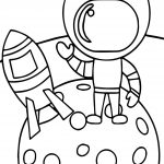 Astronaut Boy In Space Coloring Page