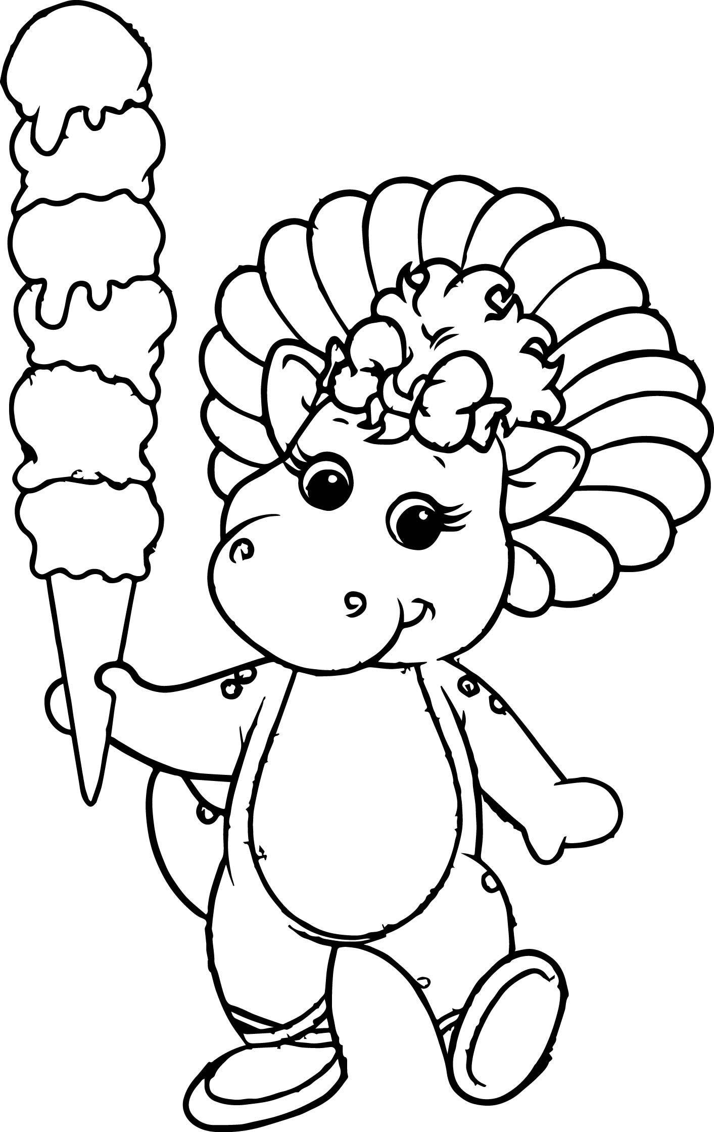 Baby Bop And Her Icy Creamy Coloring Page