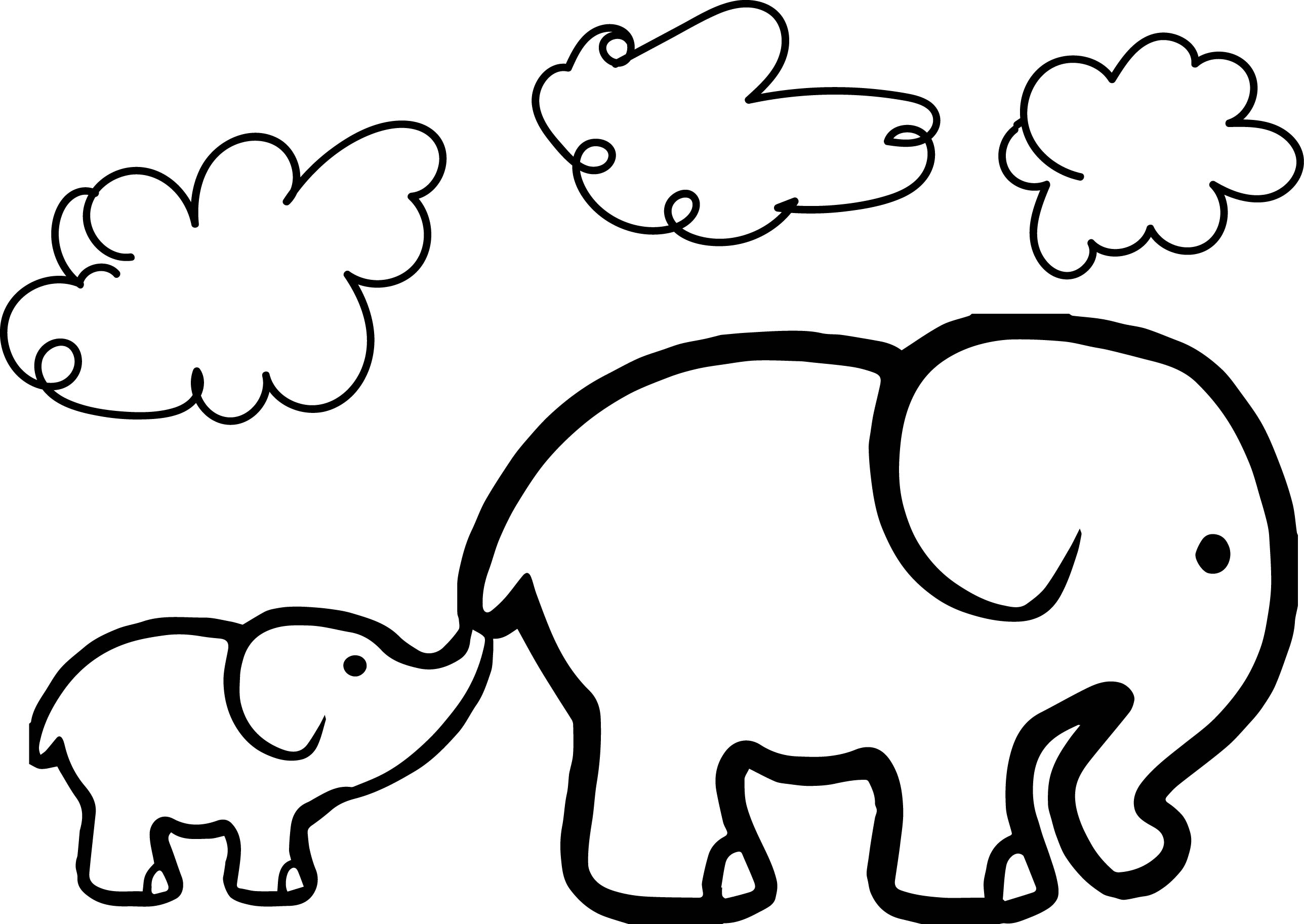 Baby Elephant And Adult Elephant Coloring Page