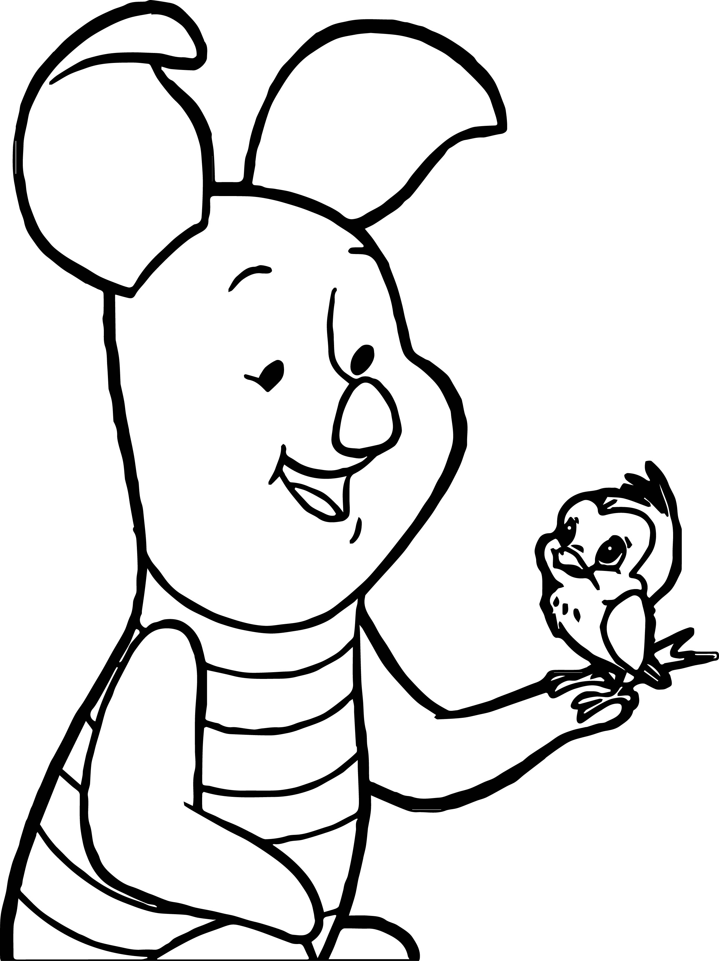 Baby piglet and bird coloring page for Piglet coloring pages