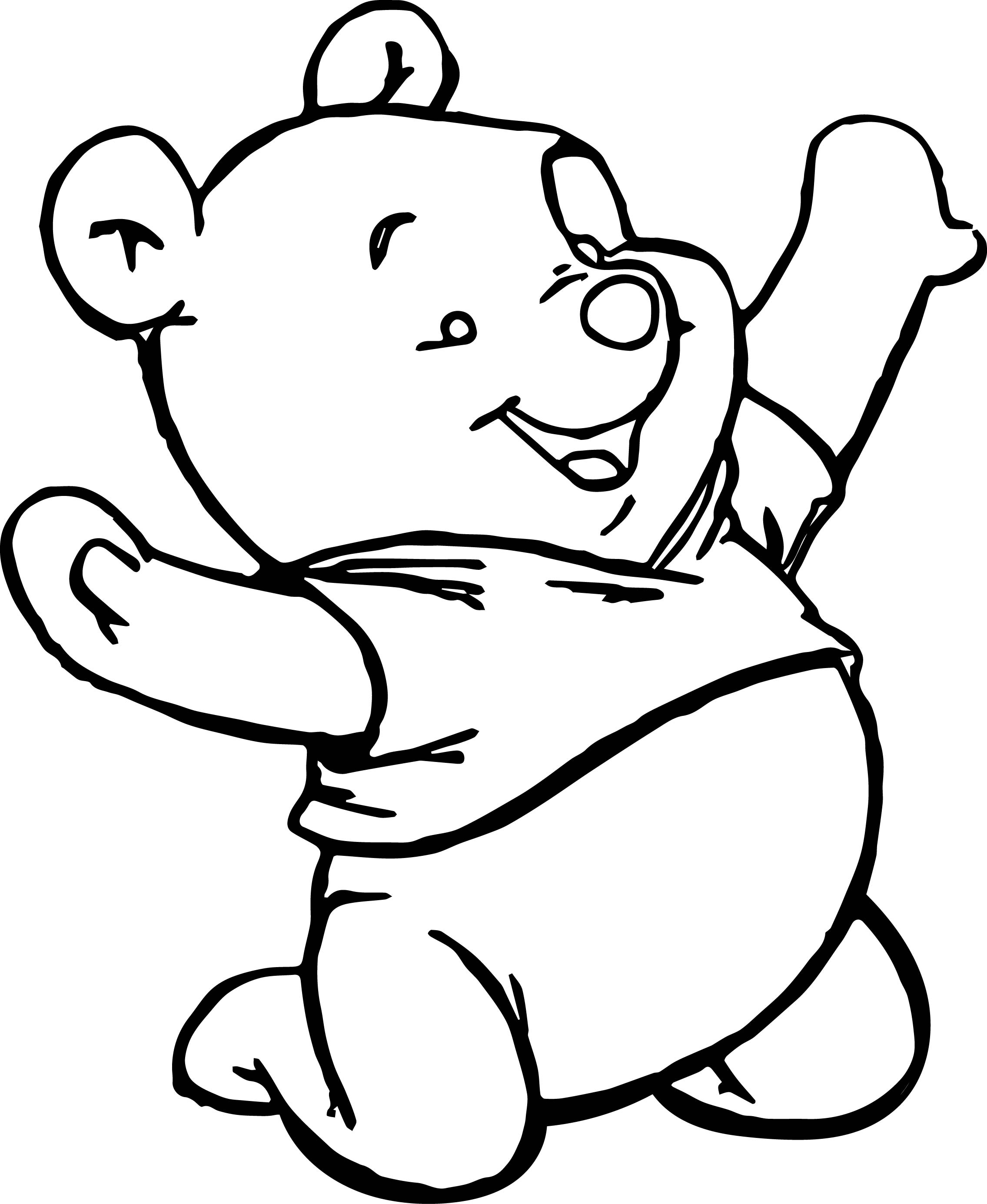 Baby Pooh Playing Coloring Page